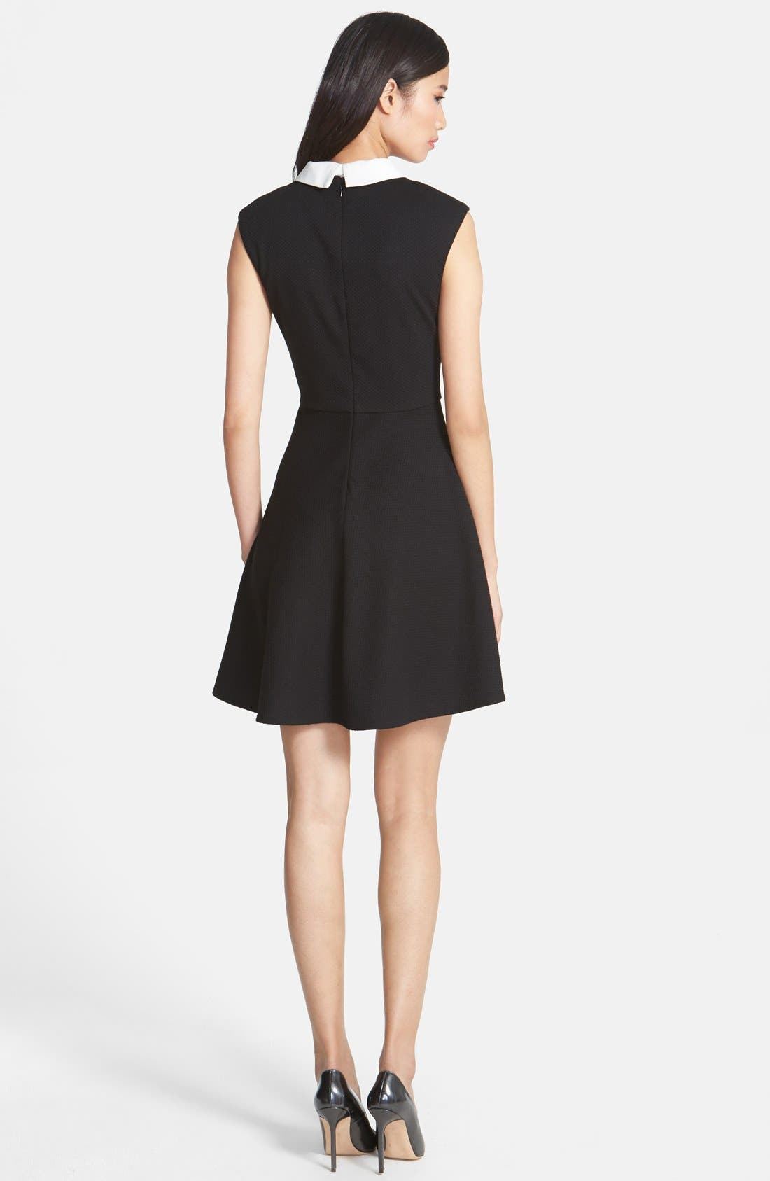 Alternate Image 2  - Betsey Johnson Bow Collar Stretch Jacquard Fit & Flare Dress