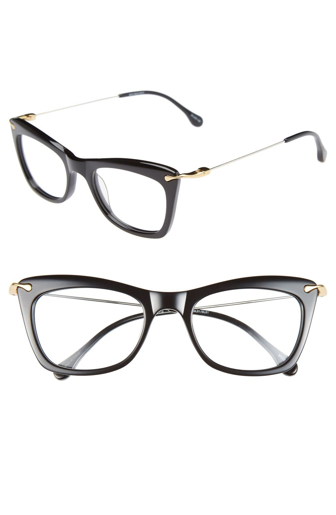 'Chrystie' 50mm Optical Glasses,                             Main thumbnail 1, color,                             Black