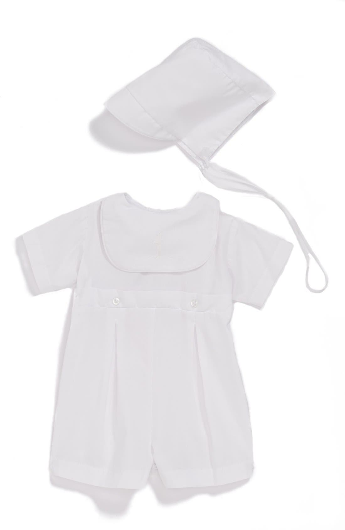 Bib Front Christening Romper and Bonnet Set,                             Main thumbnail 1, color,                             White