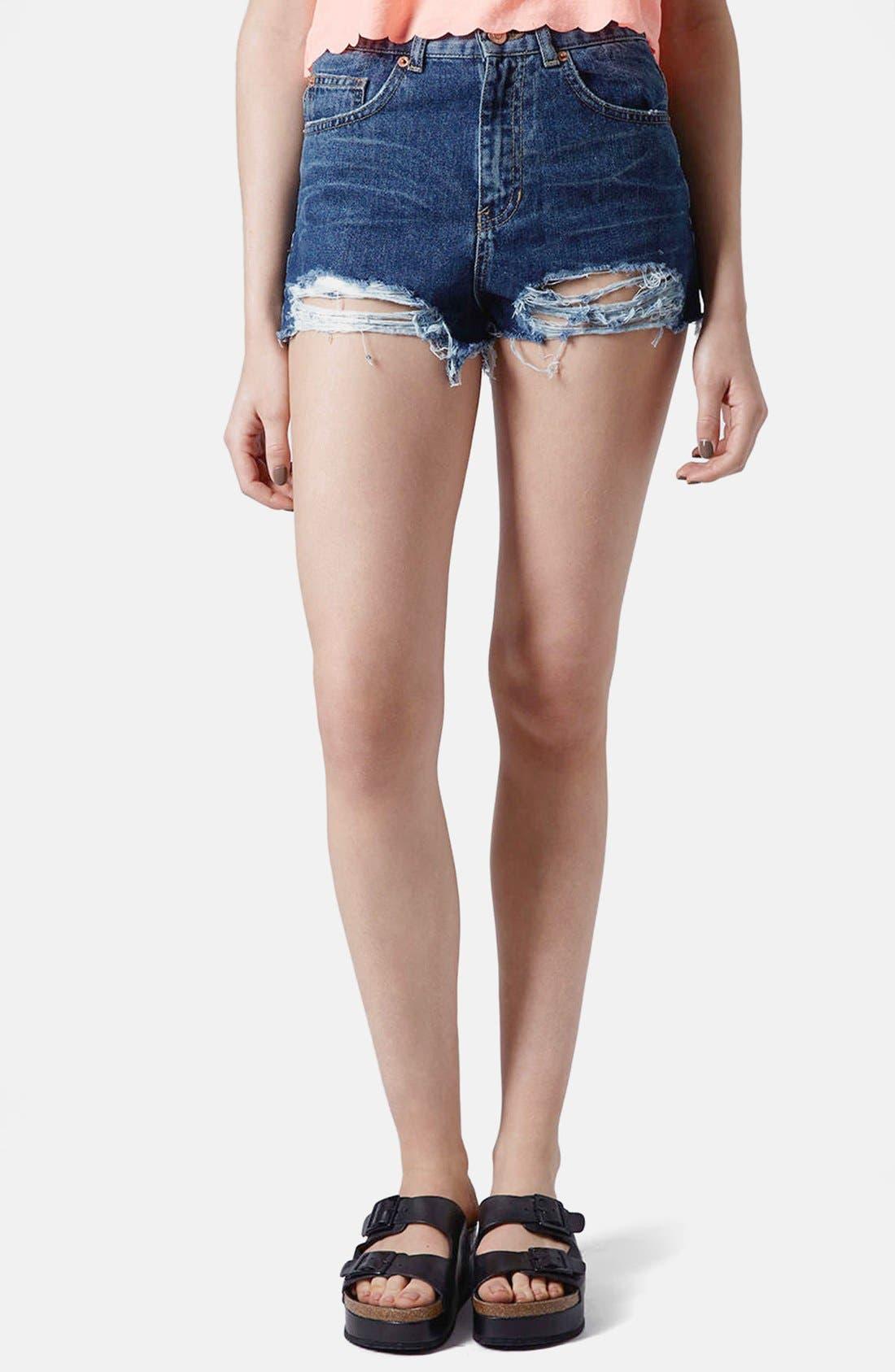Main Image - Topshop Moto High Rise Denim Shorts (Mid Denim)