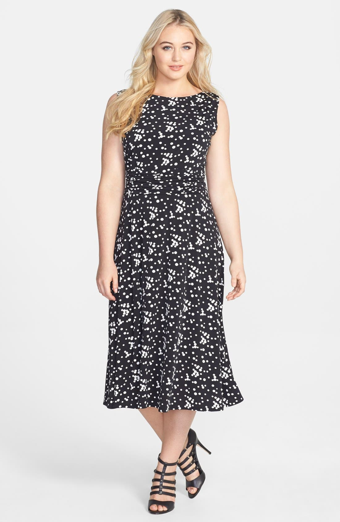 Main Image - Jessica Howard Print Ruched Waist Stretch Knit Midi Dress (Plus Size)