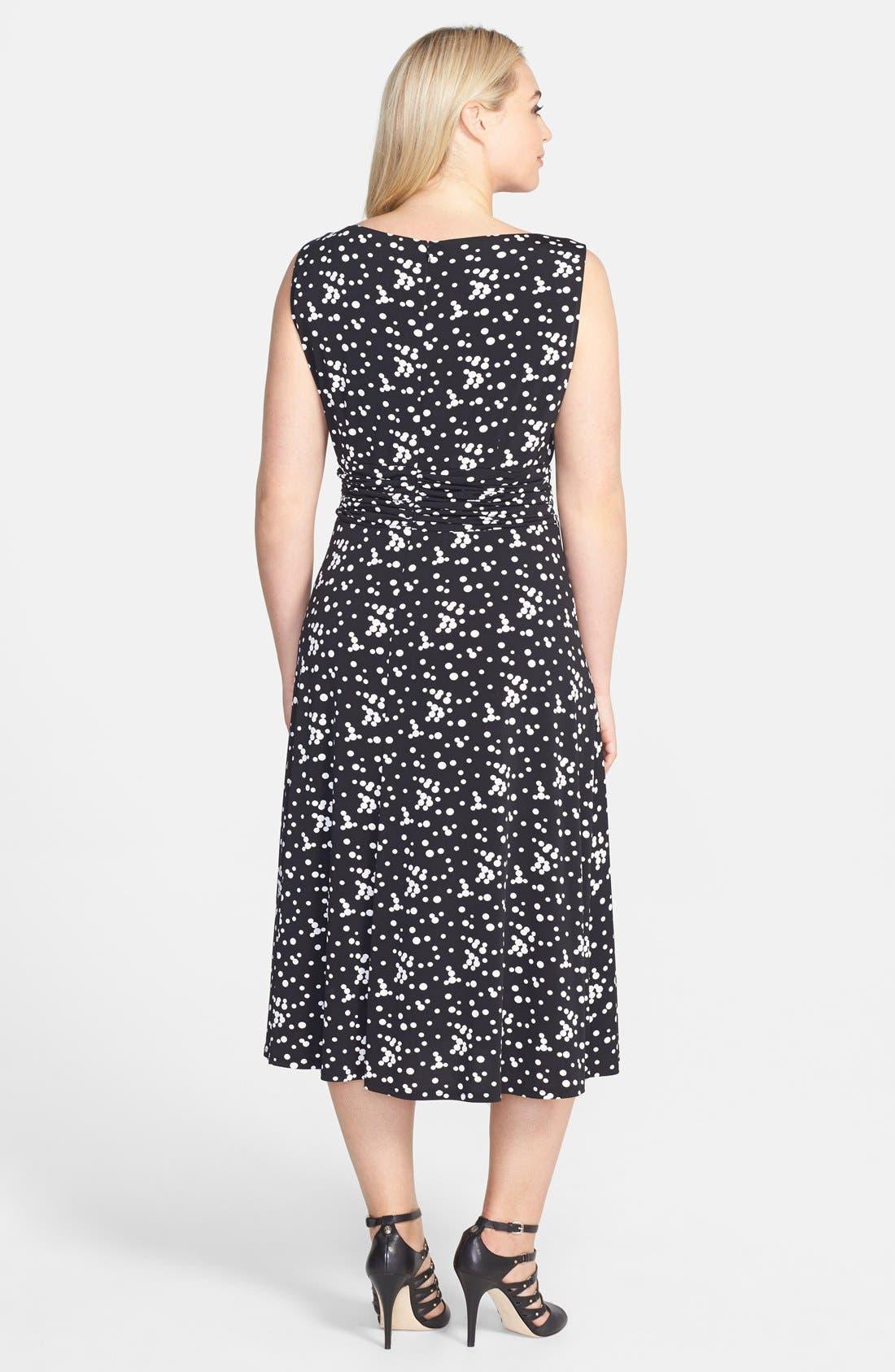 Alternate Image 2  - Jessica Howard Print Ruched Waist Stretch Knit Midi Dress (Plus Size)