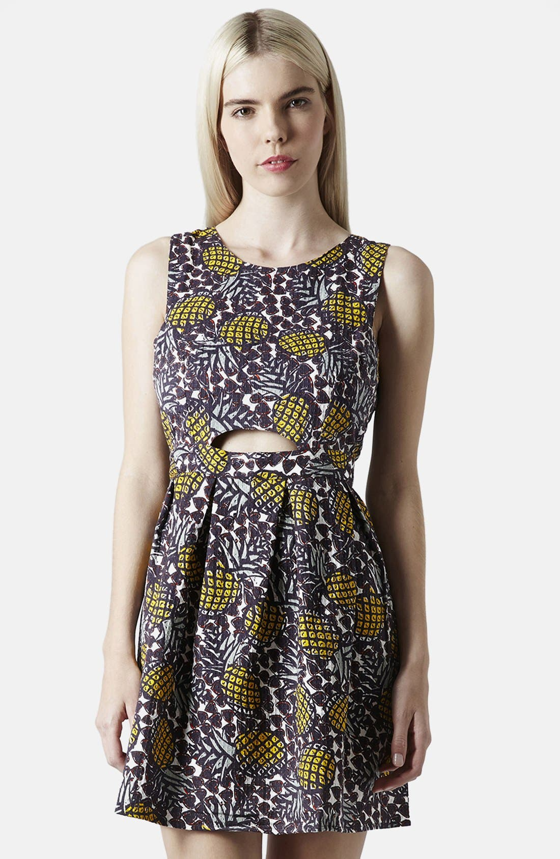 Pineapple Print Cutout Fit & Flare Dress,                         Main,                         color, Yellow Multi