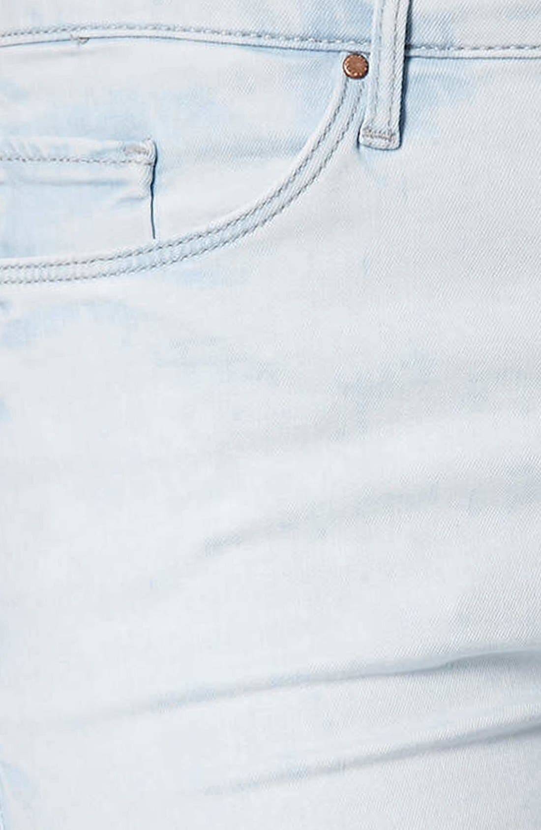 Alternate Image 4  - Topshop 'Leigh' Moto Ripped Ankle Skinny Jeans (Light Denim) (Regular & Short)