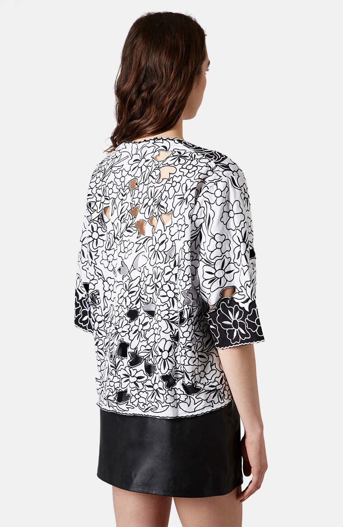 Alternate Image 2  - Topshop Cutout Embroidered Kimono Jacket