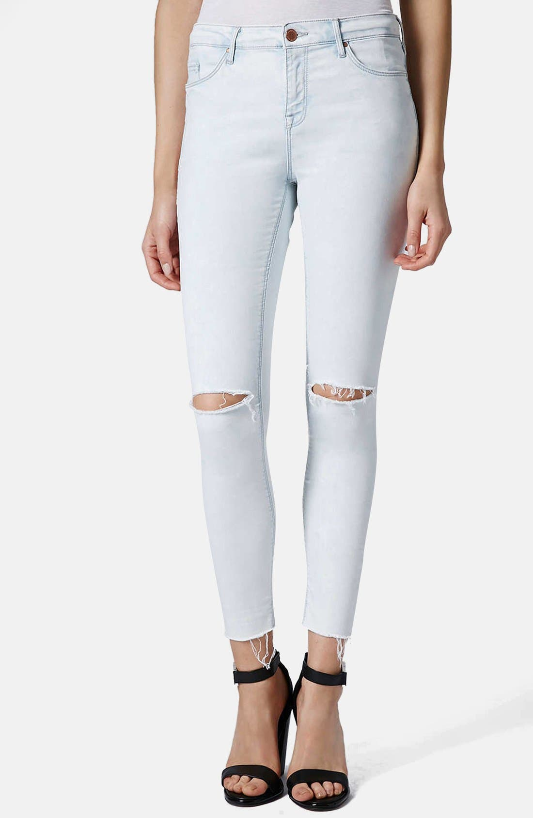 Main Image - Topshop 'Leigh' Moto Ripped Ankle Skinny Jeans (Light Denim) (Regular & Short)