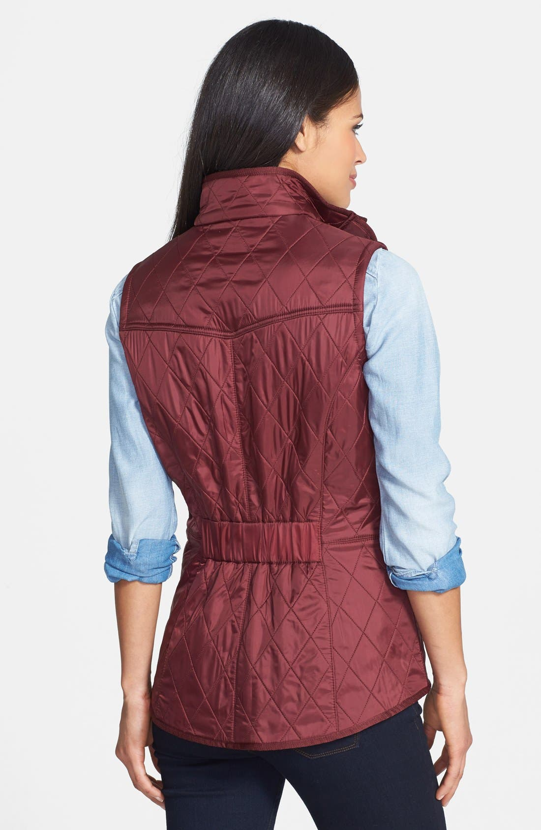 'Cavalry' Quilted Vest,                             Alternate thumbnail 2, color,                             Rosewood/ Navy