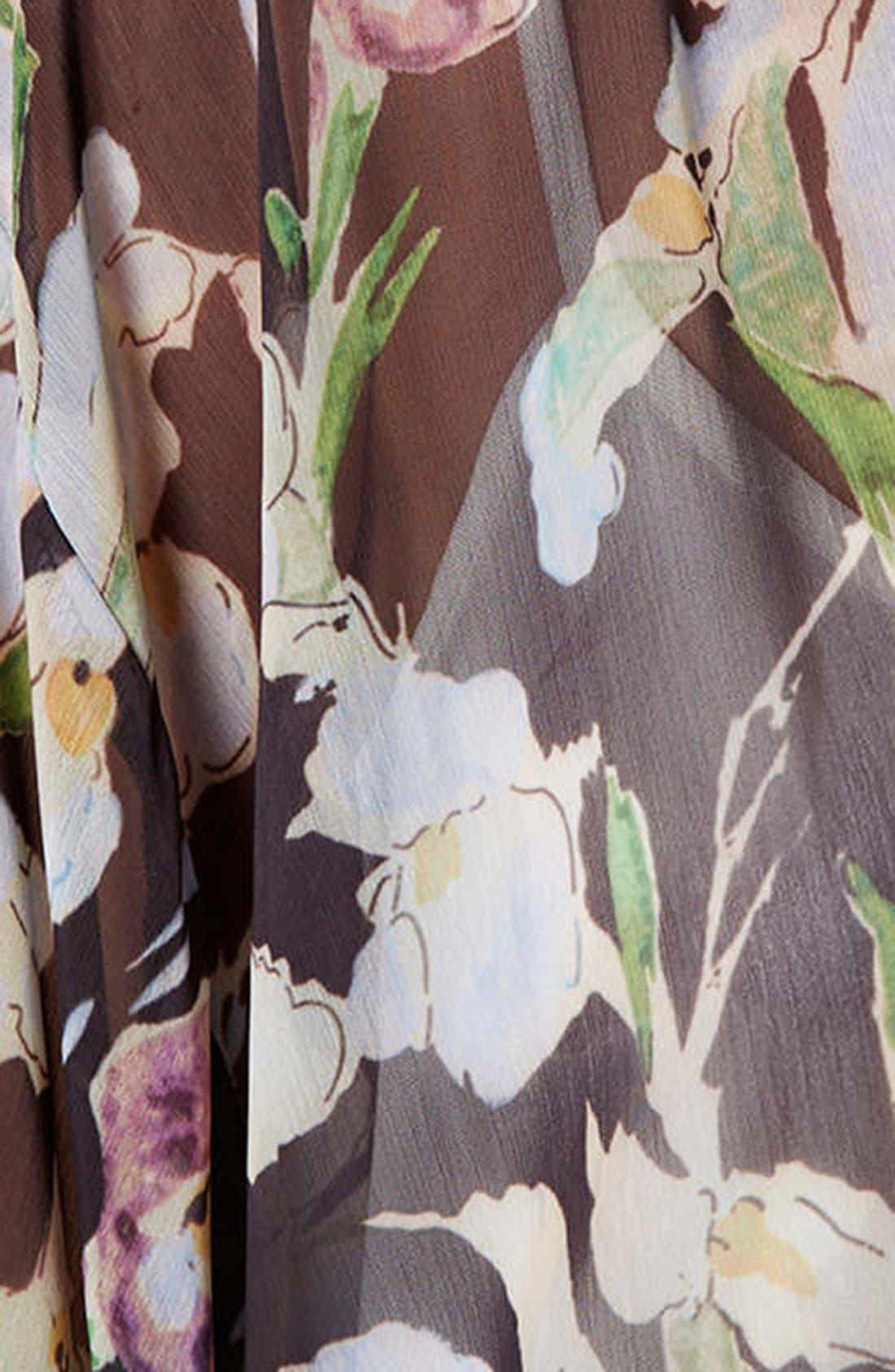 Iris Print Kimono Jacket,                             Alternate thumbnail 4, color,                             Pink Multi