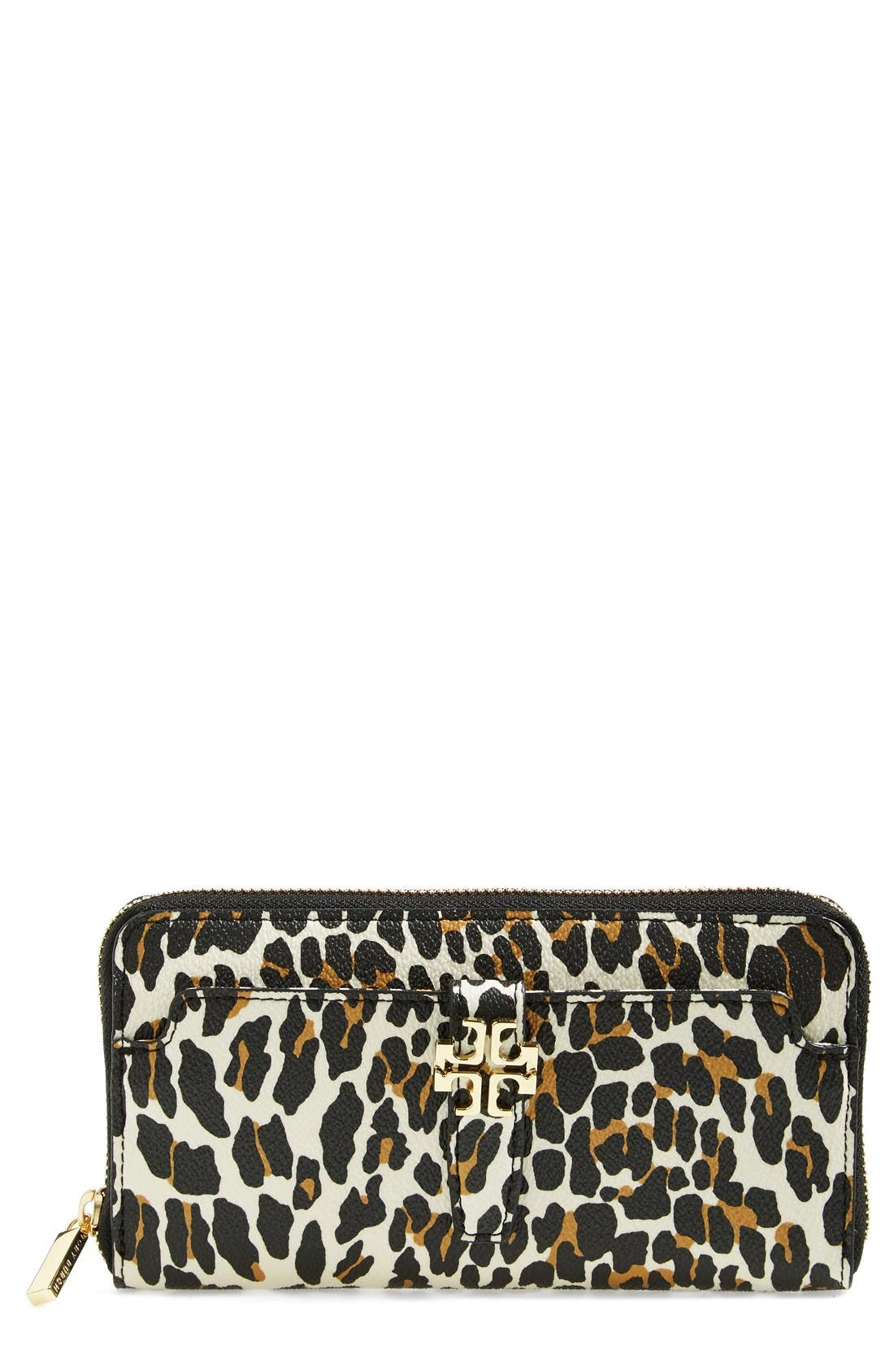 Main Image - Tory Burch 'Plaque' Leopard Print Continental Wallet