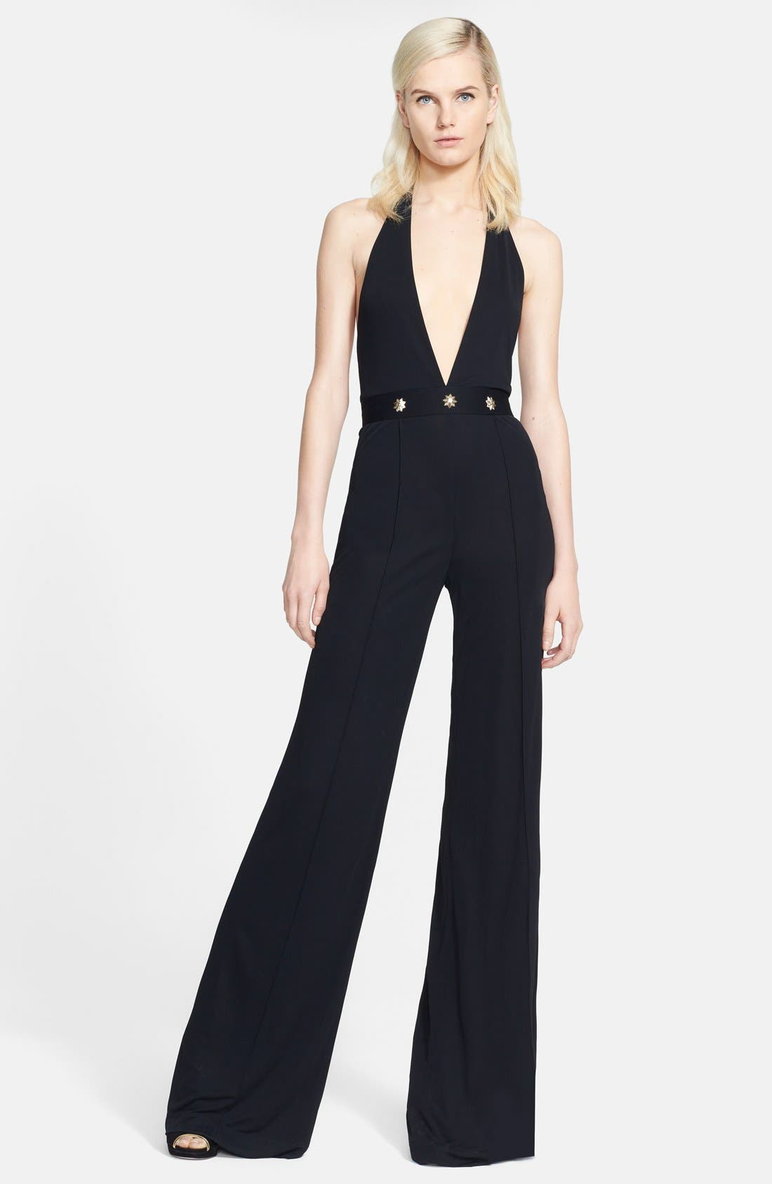 Main Image - Versace Collection Crepe Jersey Halter Jumpsuit