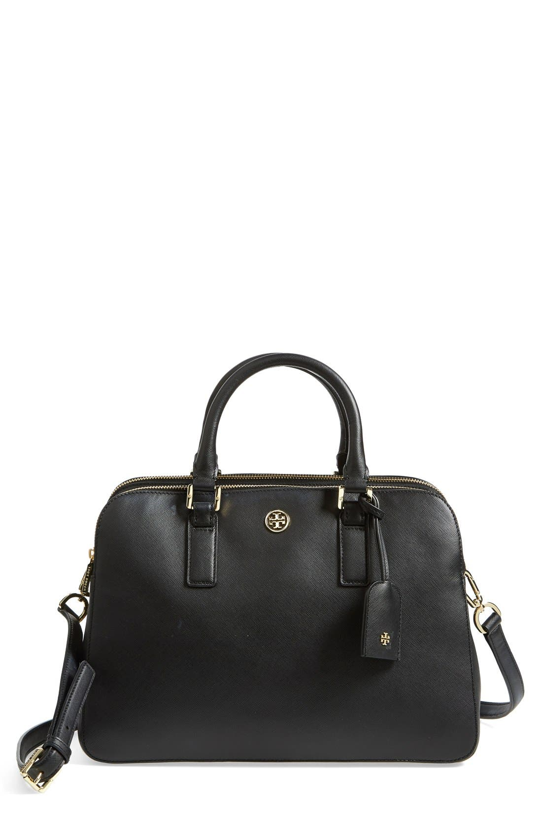 'Robinson' Triple Zip Saffiano Leather Satchel,                             Main thumbnail 1, color,                             Black