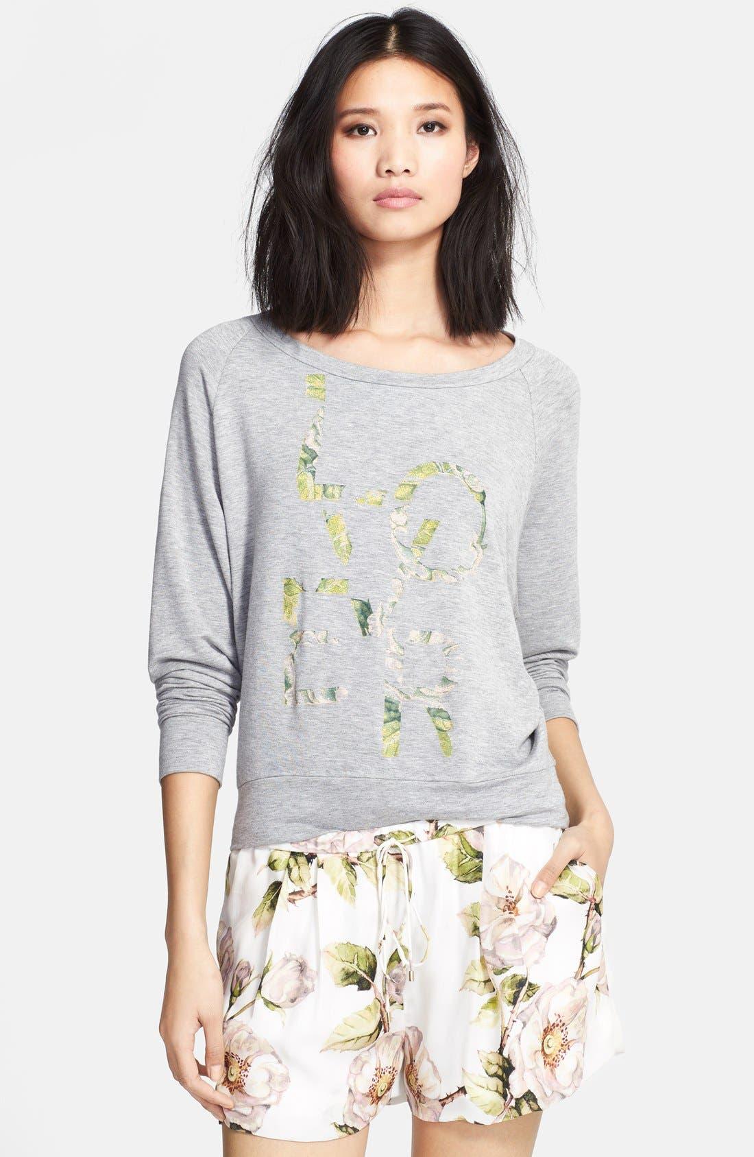 Alternate Image 1 Selected - Haute Hippie 'Lover' Floral Print Sweatshirt