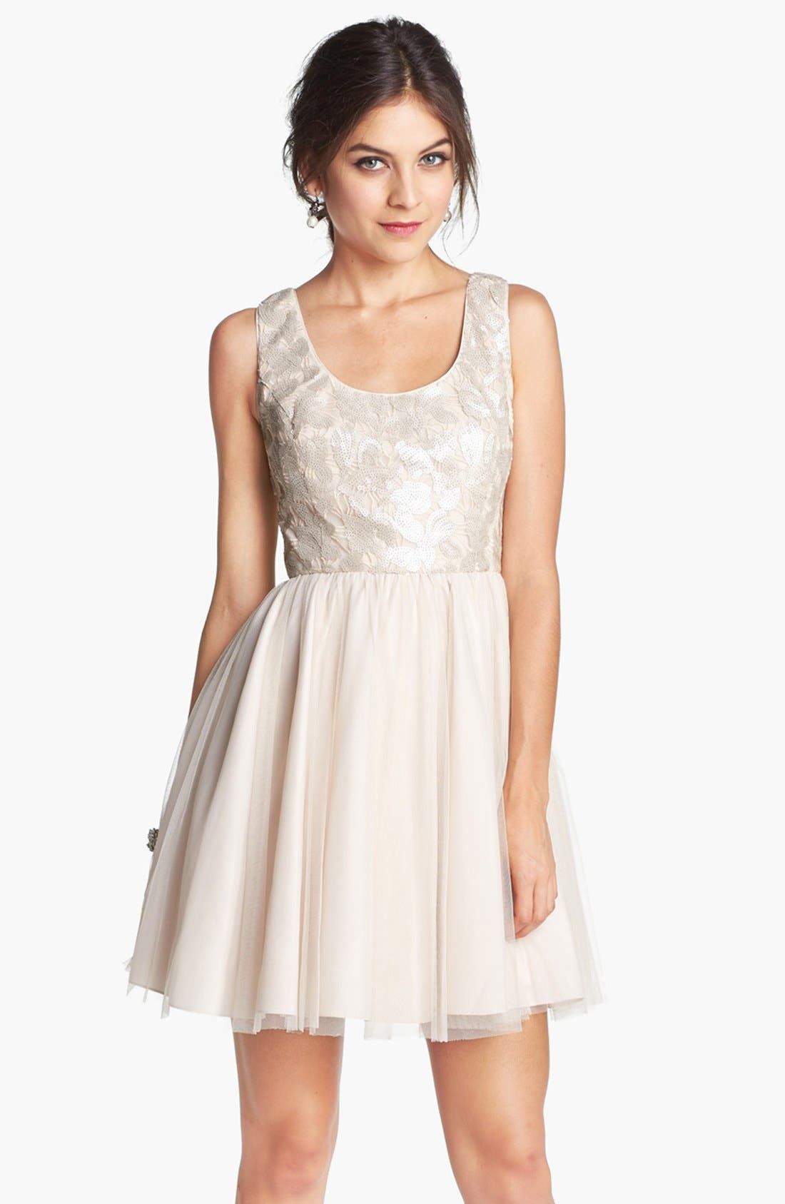Main Image - Aidan by Aidan Mattox Embellished Tulle Fit & Flare Dress