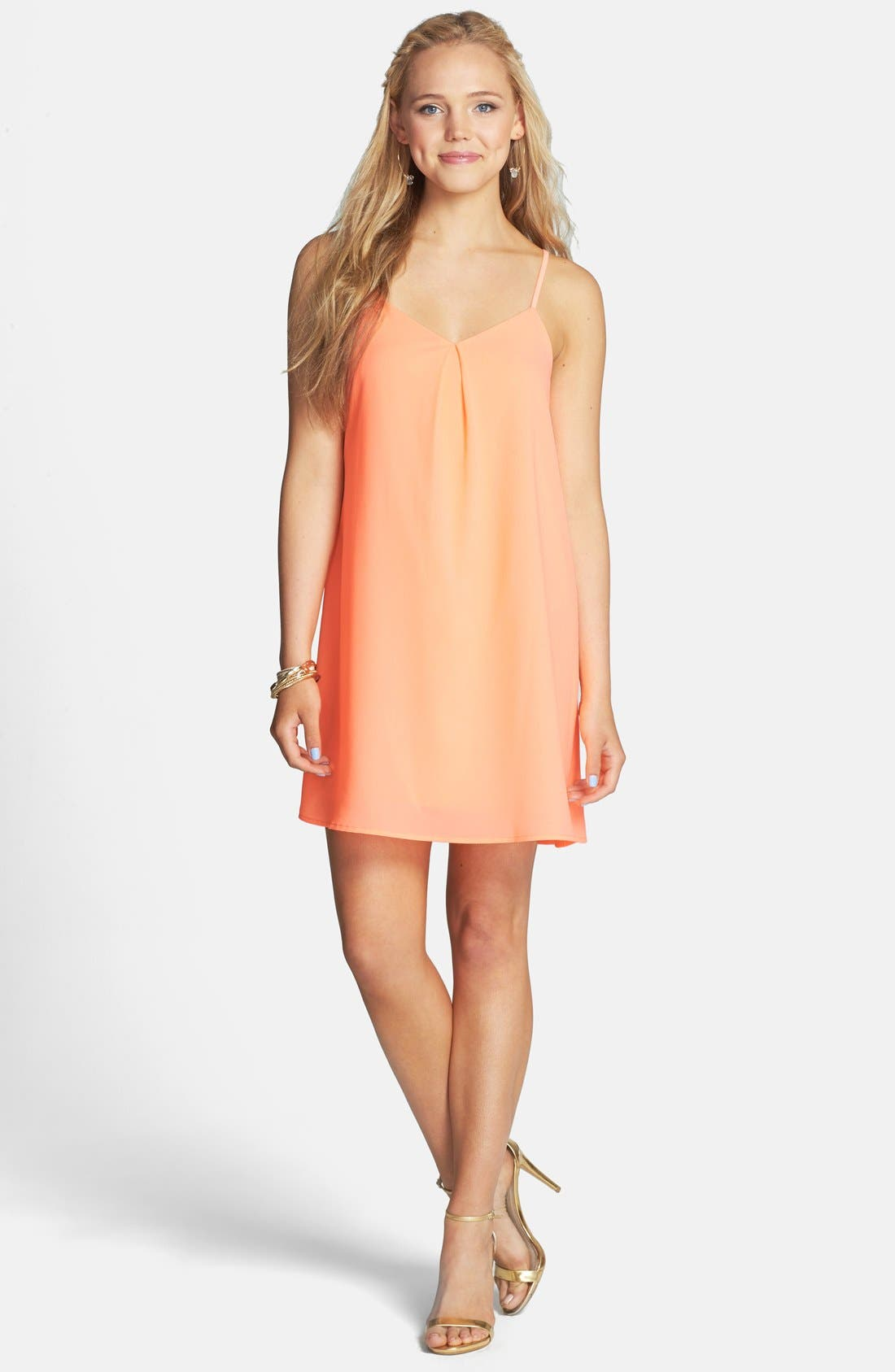 Main Image - Everly Strappy Back Shift Dress (Juniors)