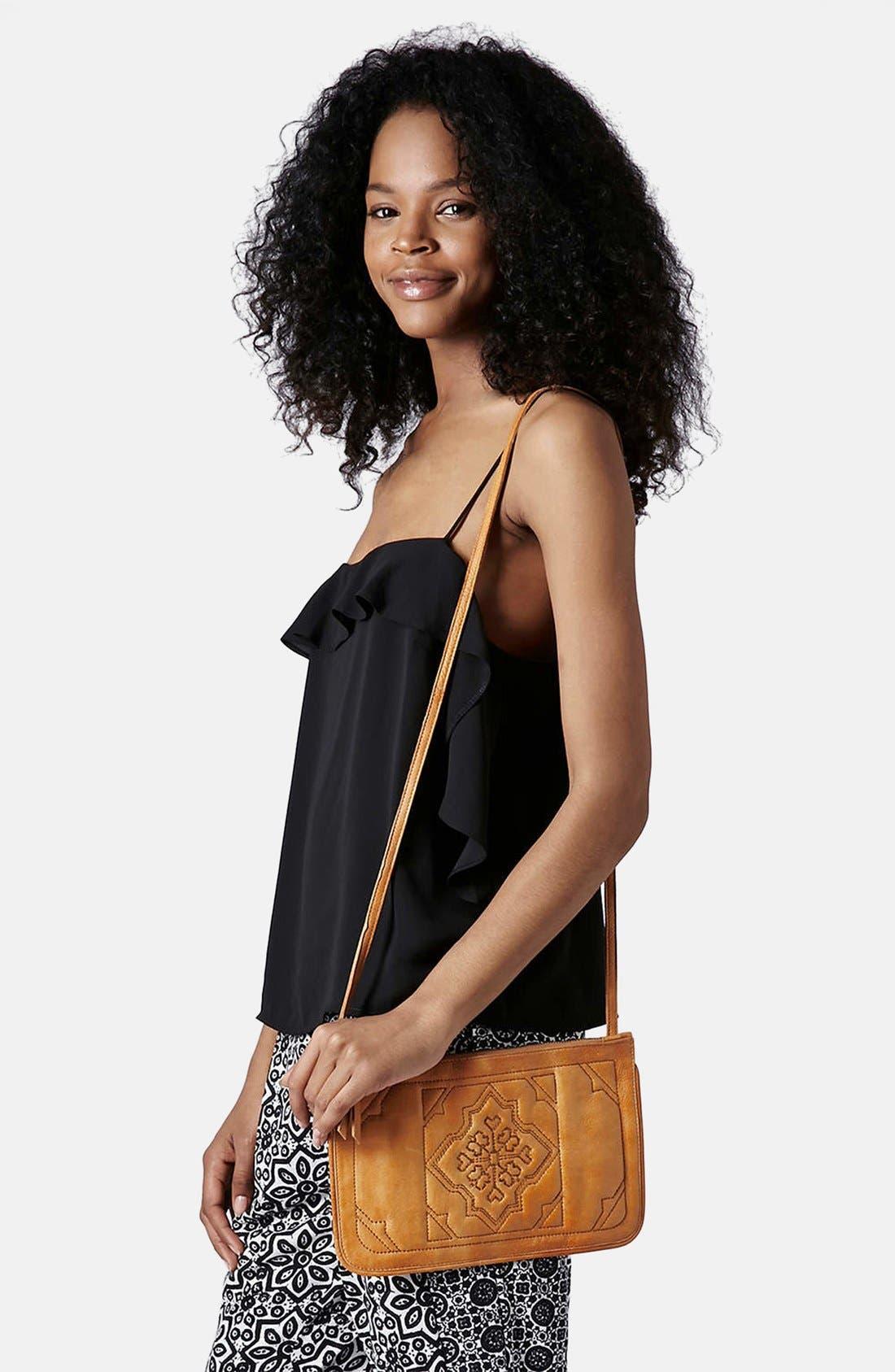 Alternate Image 2  - Topshop Tile Quilted Leather Crossbody Bag