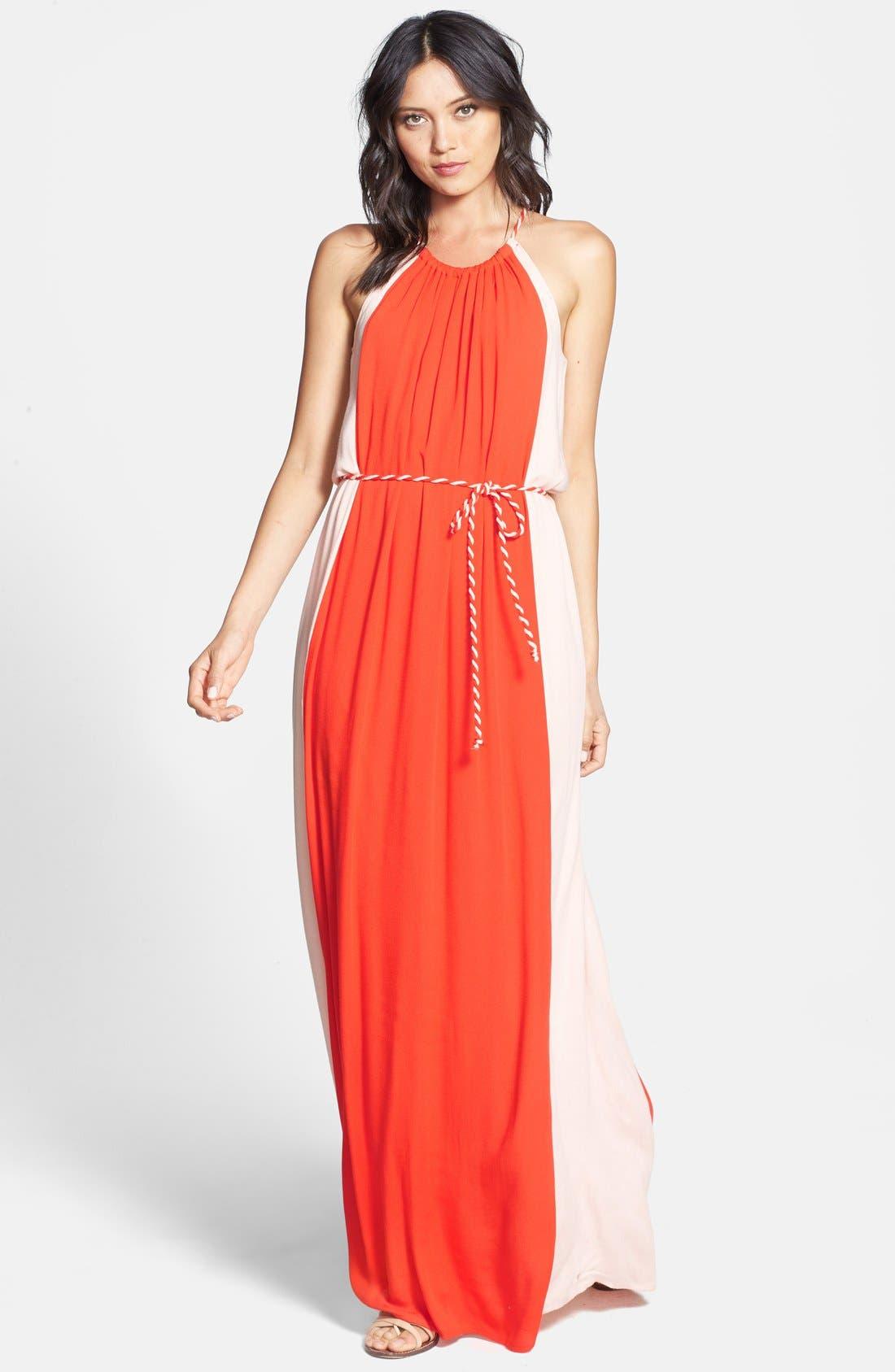 'Stella' Colorblock Maxi Dress,                         Main,                         color, Persimmon