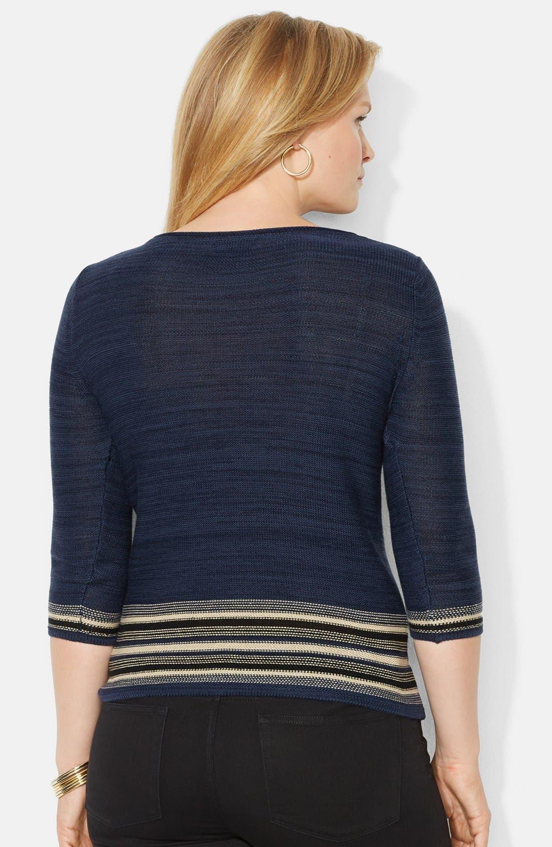 Alternate Image 2  - Lauren Ralph Lauren Ballet Neck Patterned Sweater (Plus Size)