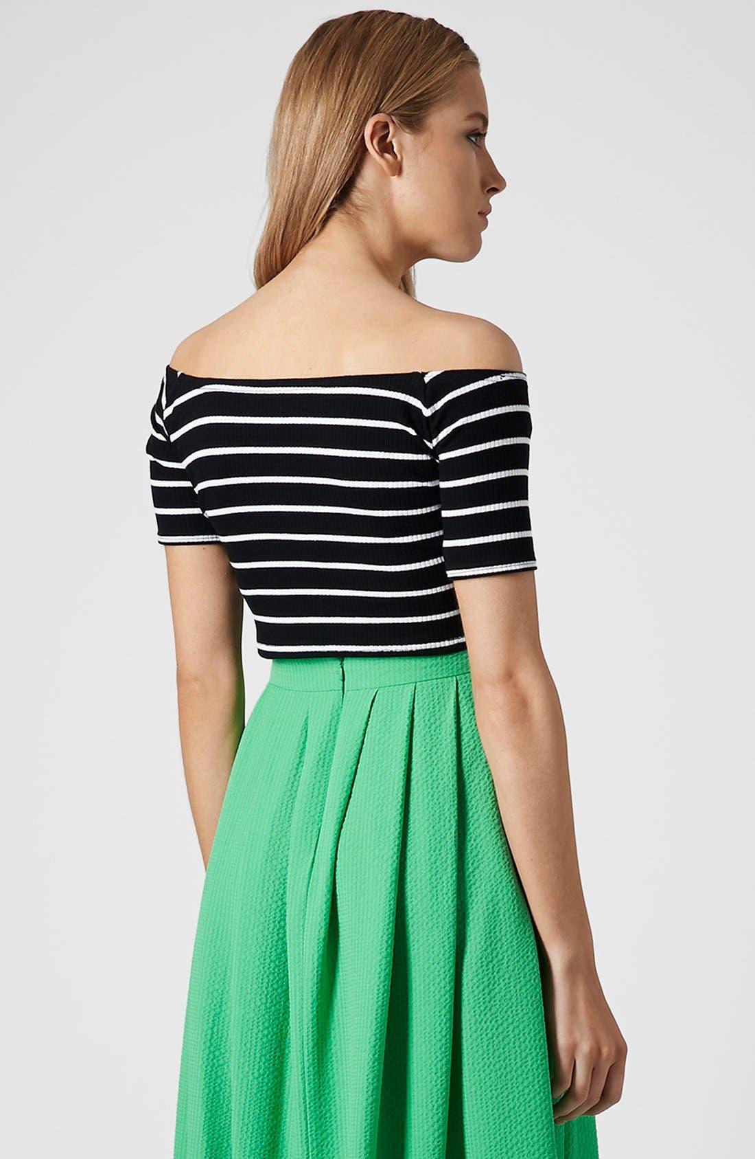 Alternate Image 2  - Topshop Stripe Rib Knit Bardot Crop Top