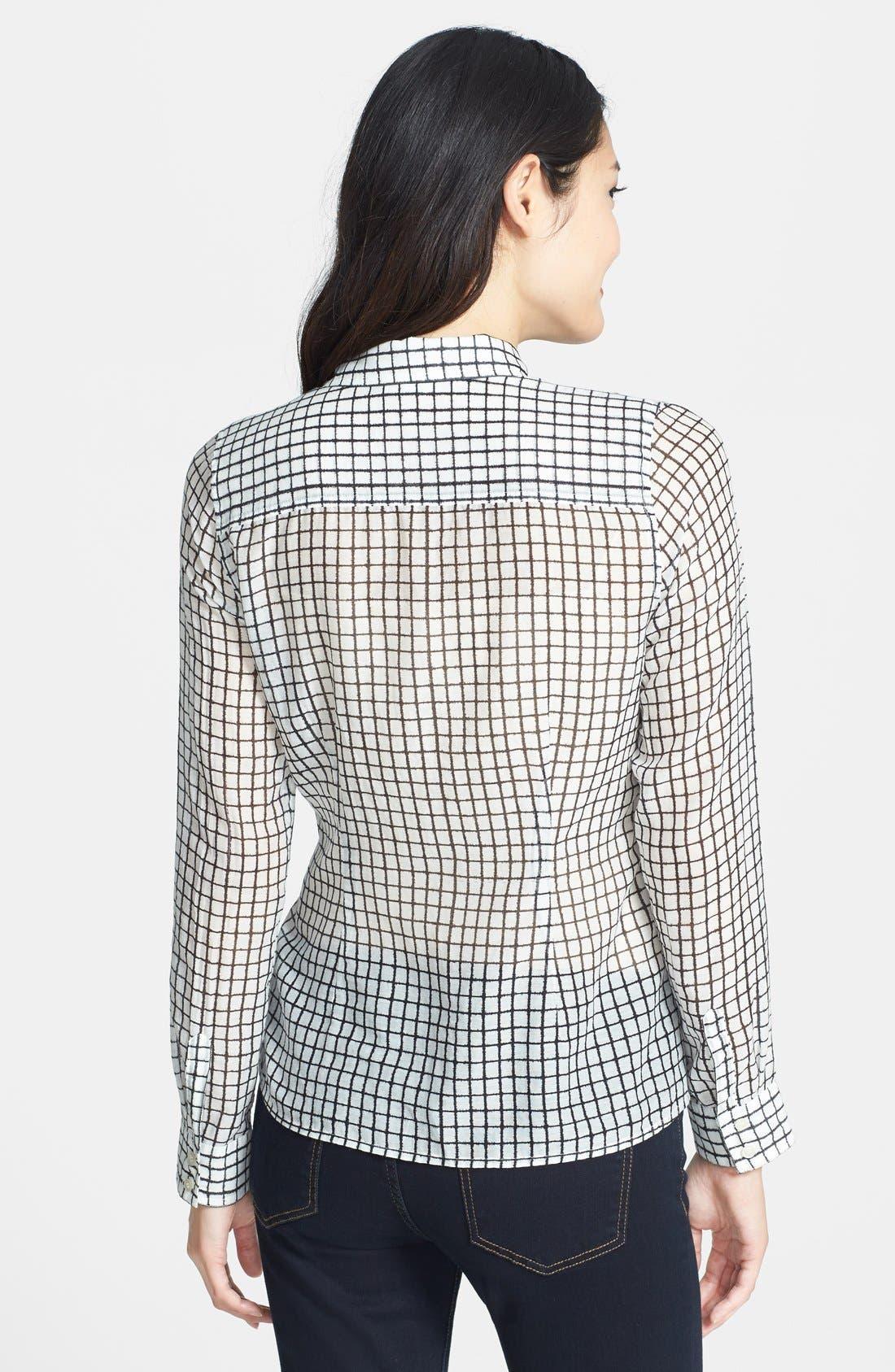 Alternate Image 2  - Halogen® Print Cotton & Silk Shirt (Regular & Petite)