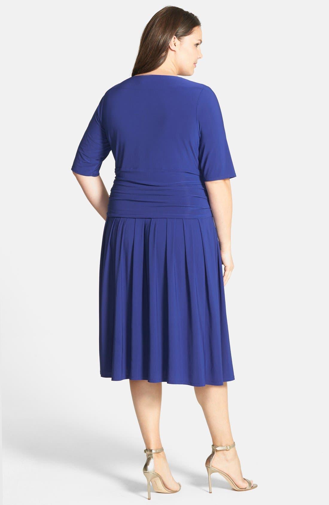 Alternate Image 2  - Eliza J Ruched Stretch Knit Dress (Plus Size) (Online Only)