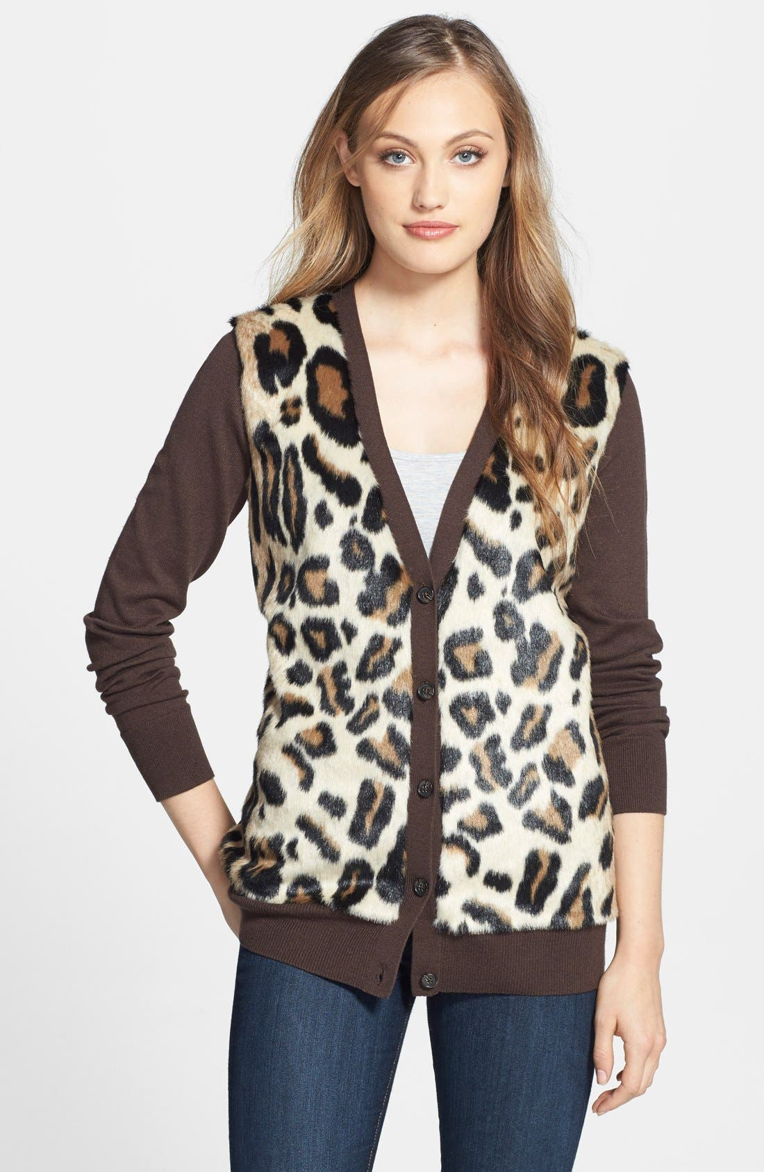 Alternate Image 1 Selected - MICHAEL Michael Kors Faux Fur Front Boyfriend Cardigan