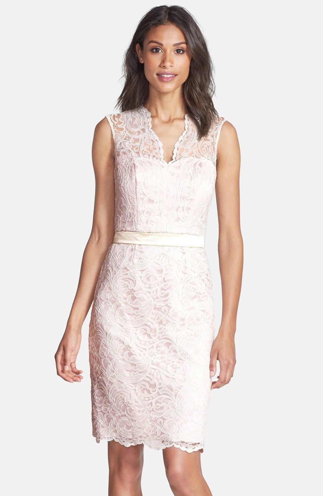 Lace Overlay Matte Satin Dress,                         Main,                         color, Ivory/ Blush