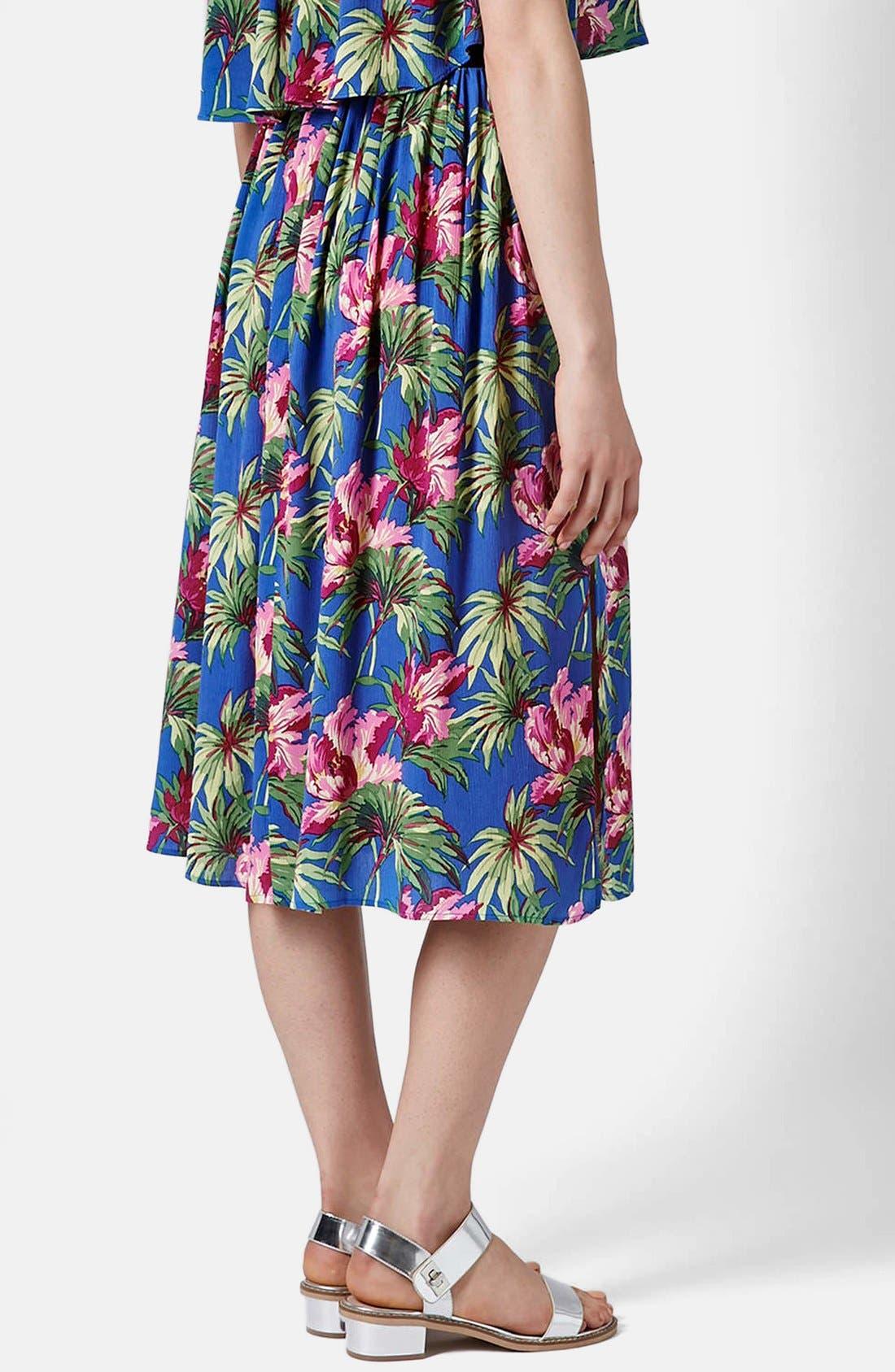 Alternate Image 2  - Topshop Hibiscus Print Midi Skirt (Petite)
