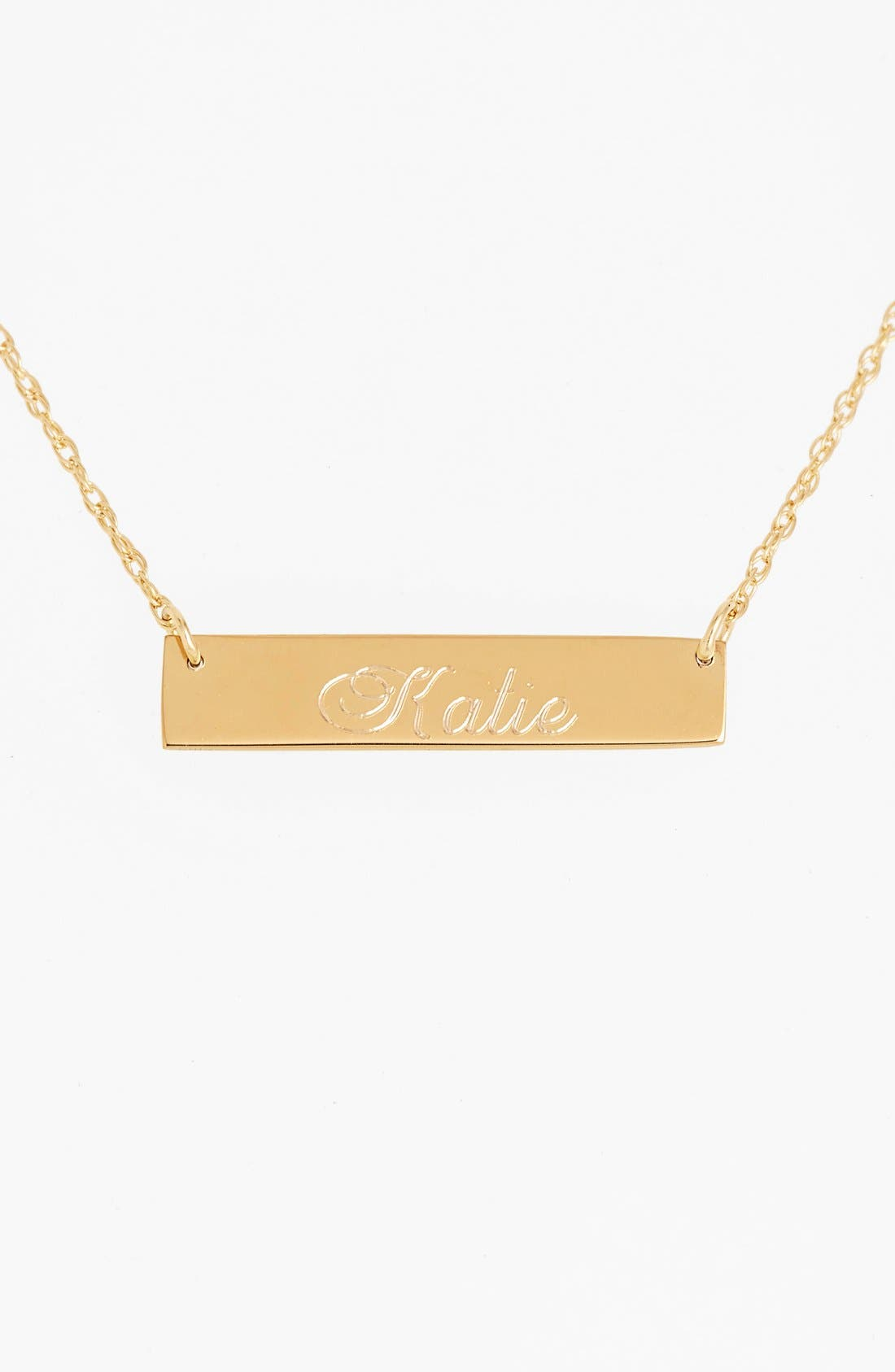 Alternate Image 1 Selected - Moon and Lola 'Script Font' Personalized Bar Pendant Necklace (Online Only)