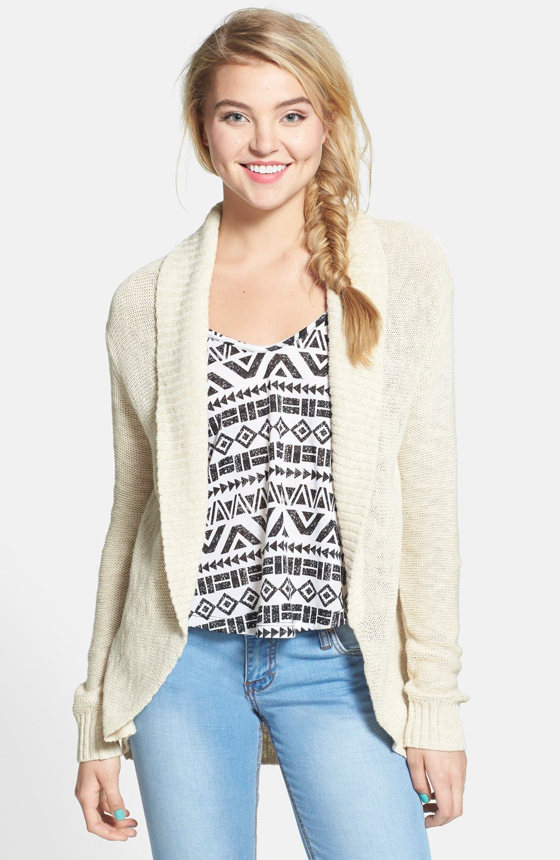 Main Image - BP. Open Front Cardigan (Juniors)