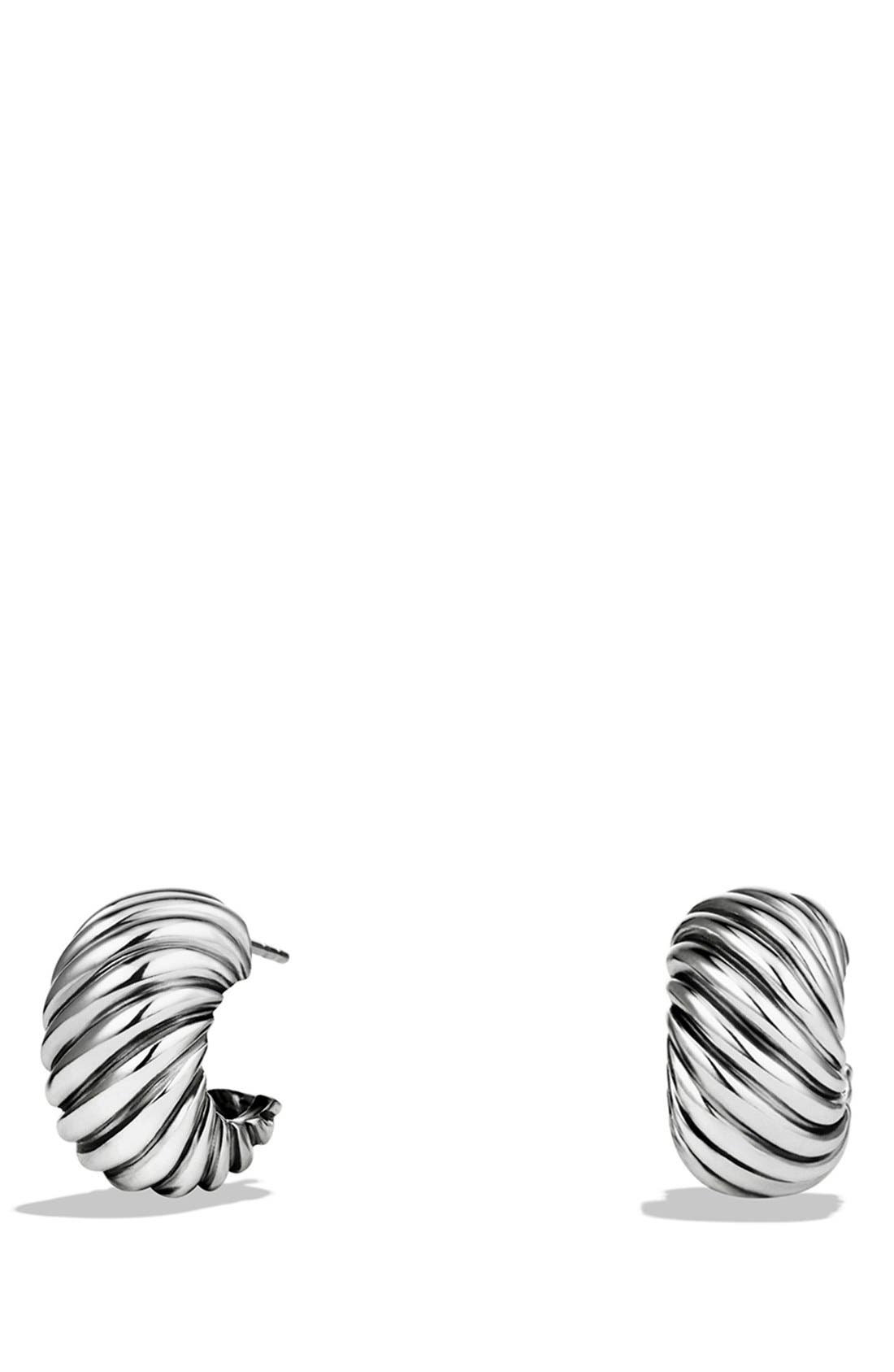 'Cable Classics' Hoop Earrings,                             Main thumbnail 1, color,                             Silver