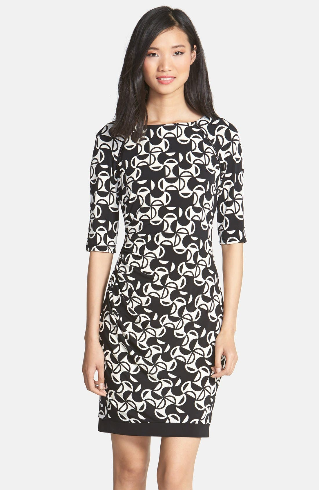Main Image - Donna Morgan Print Matte Jersey Sheath Dress (Petite)