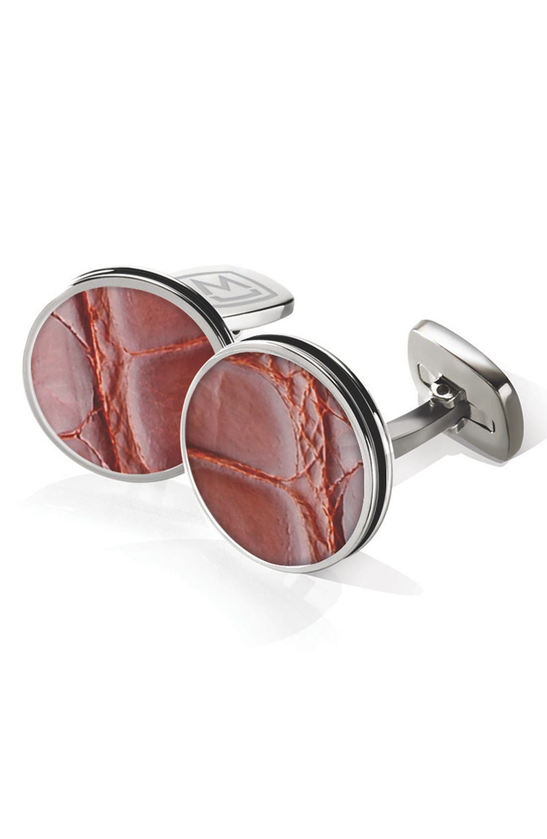 Alligator Cuff Links,                         Main,                         color, Stainless Steel/ Cognac