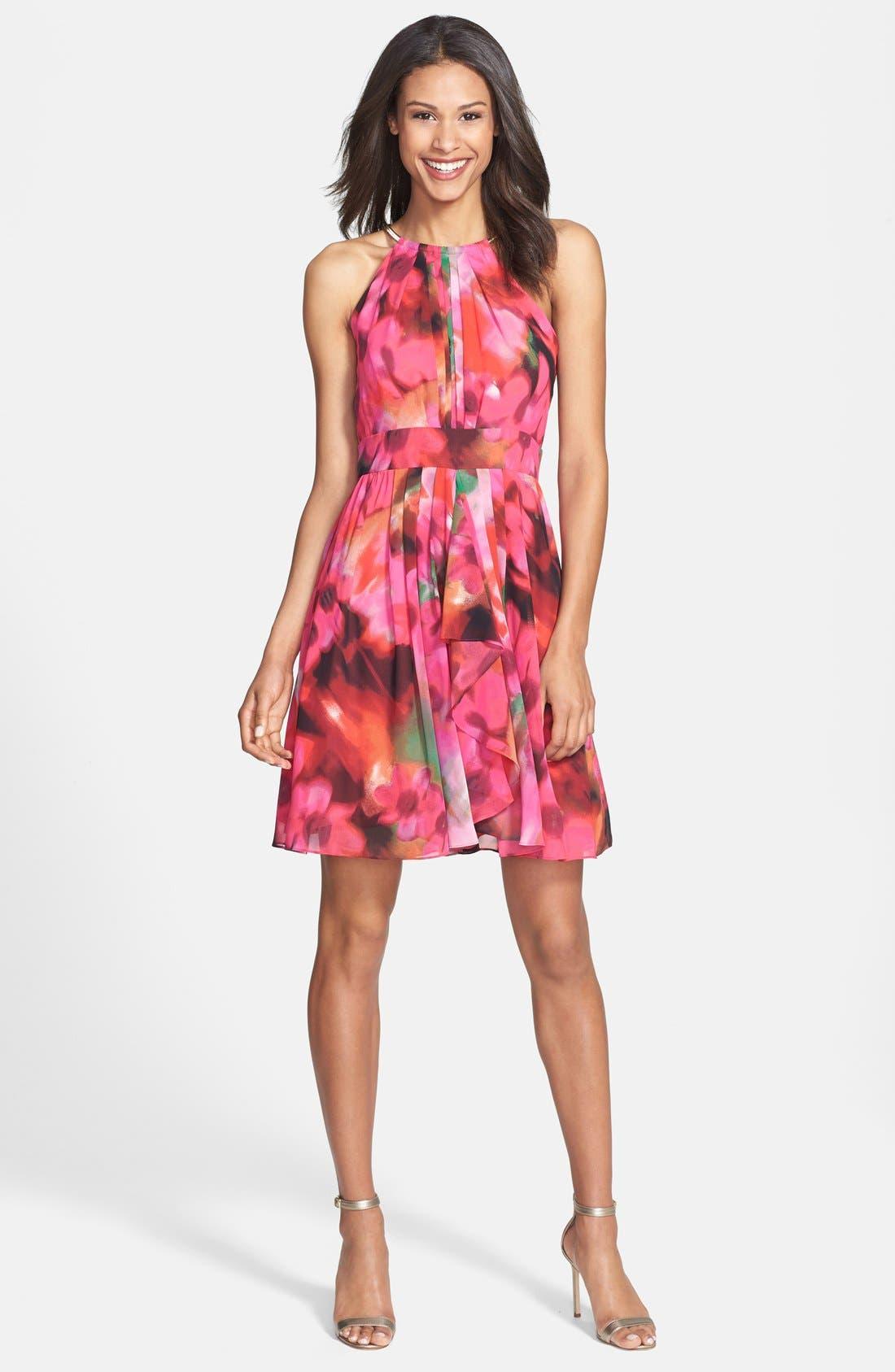 Alternate Image 1 Selected - Eliza J Print Pleat Fit & Flare Dress (Regular & Petite)