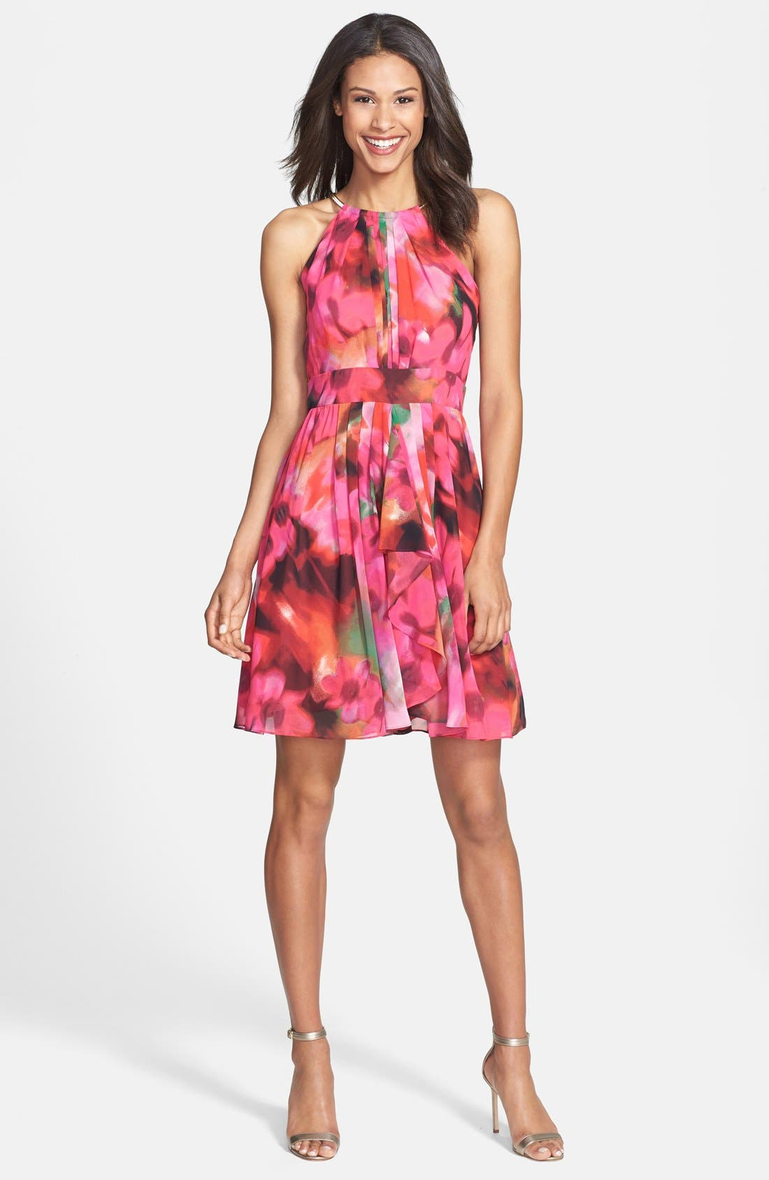 Main Image - Eliza J Print Pleat Fit & Flare Dress (Regular & Petite)