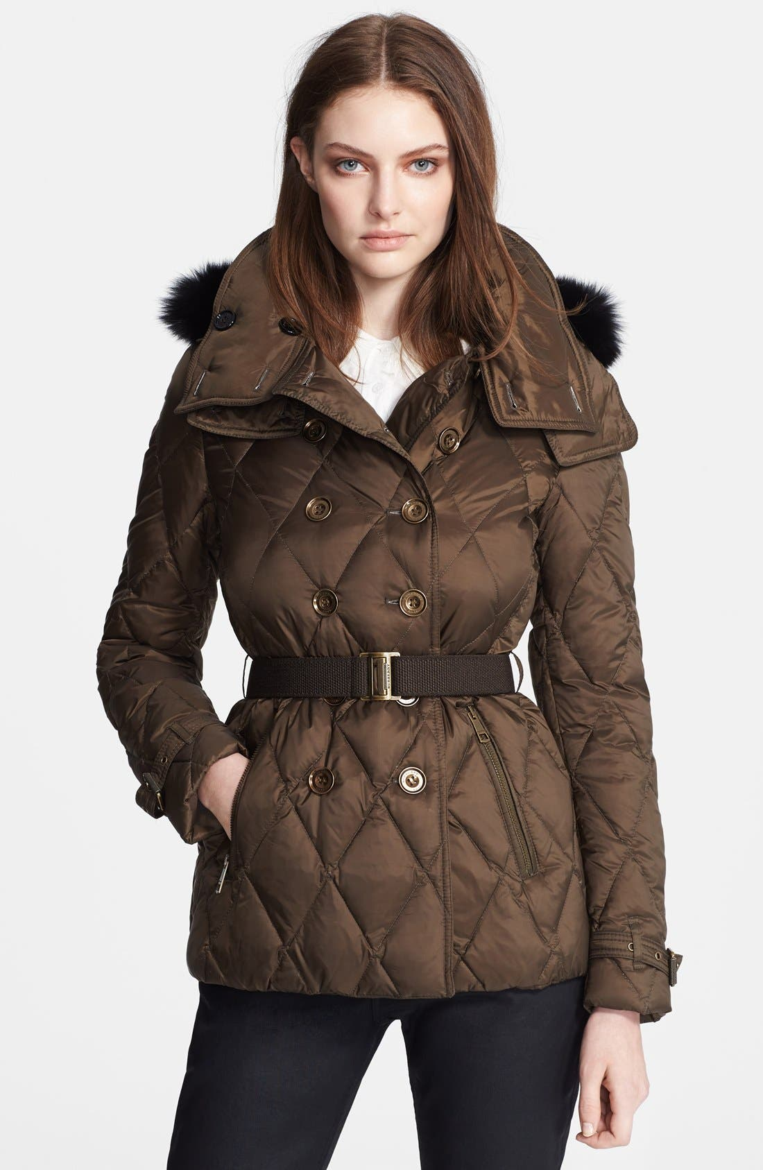 Alternate Image 1 Selected - Burberry Brit 'Natesdale' Hooded Quilted Jacket with Genuine Fox Fur Trim
