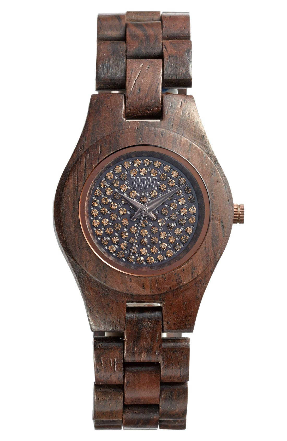 Alternate Image 1 Selected - WeWOOD 'Moon Crystal' Wood Bracelet Watch, 29mm