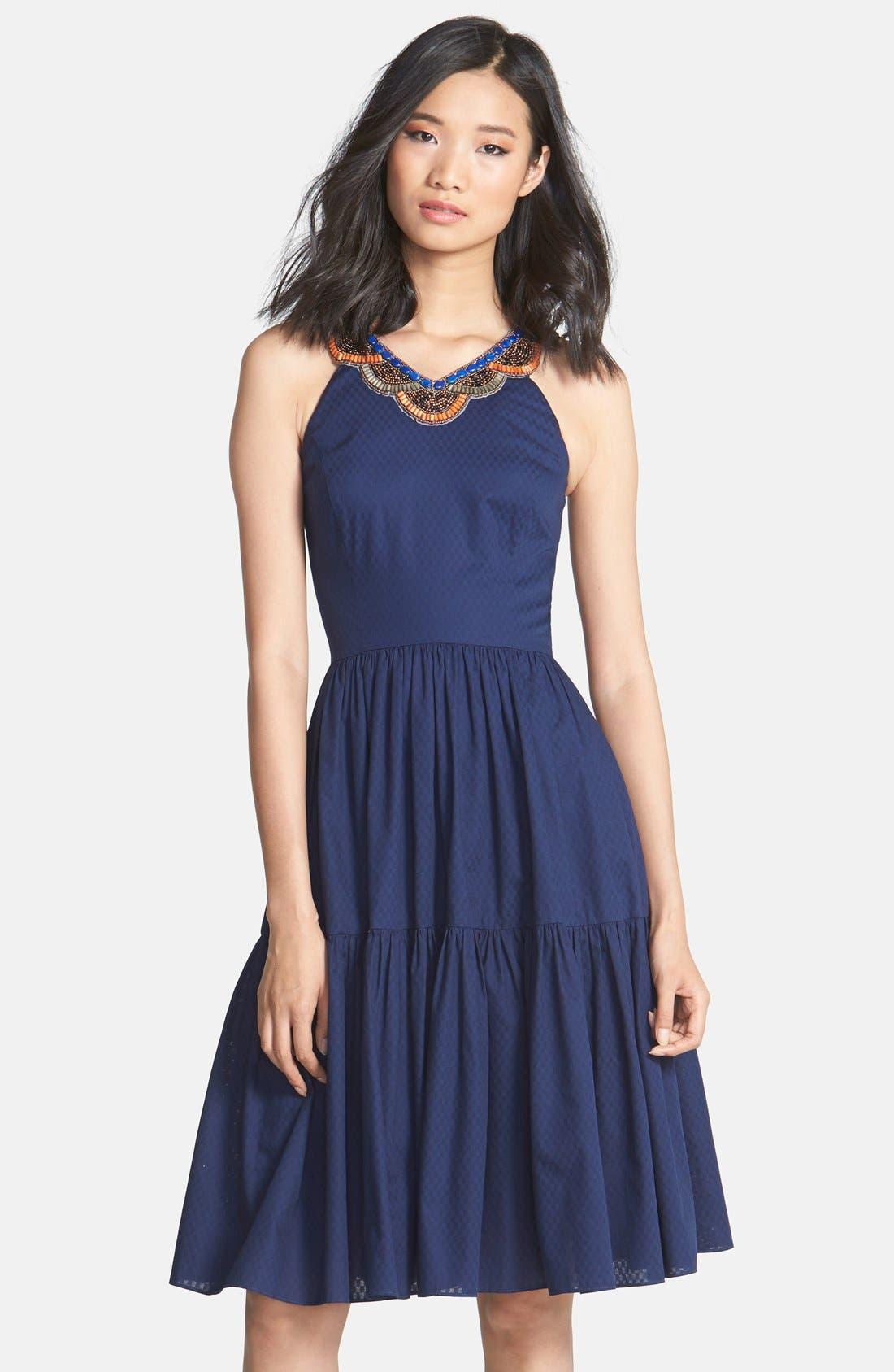 Alternate Image 1 Selected - Cynthia Steffe 'Jett' Embellished Tiered Jacquard Midi Dress