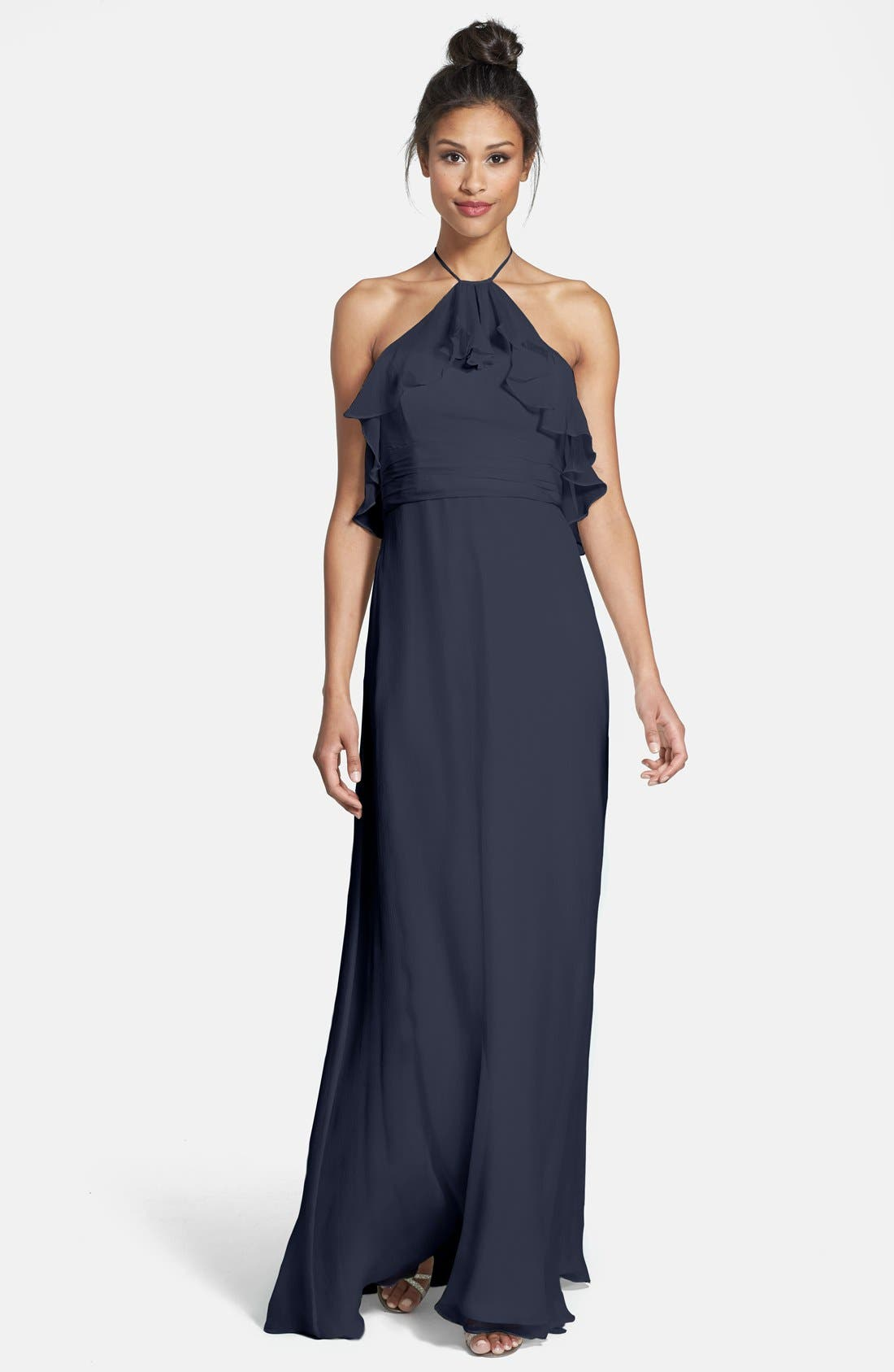 Ruffle Crinkled Silk Chiffon Halter Gown,                         Main,                         color, Navy