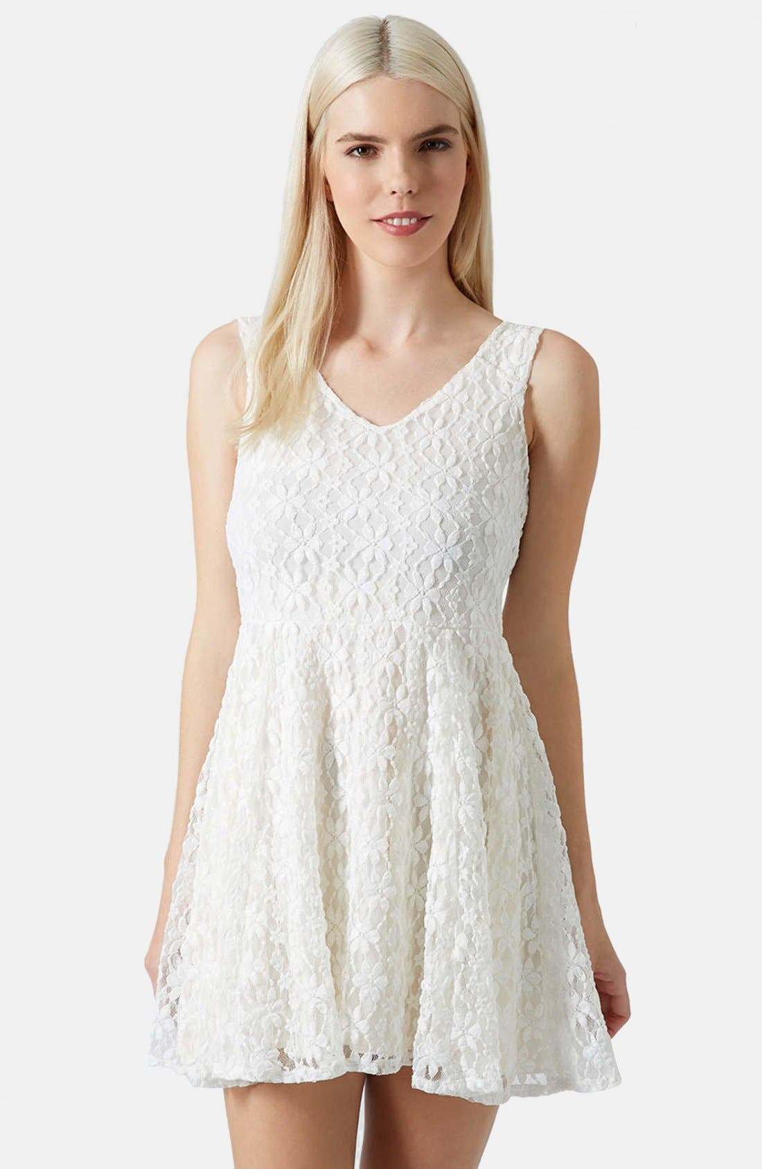 Alternate Image 1 Selected - Topshop Daisy Lace Skater Dress