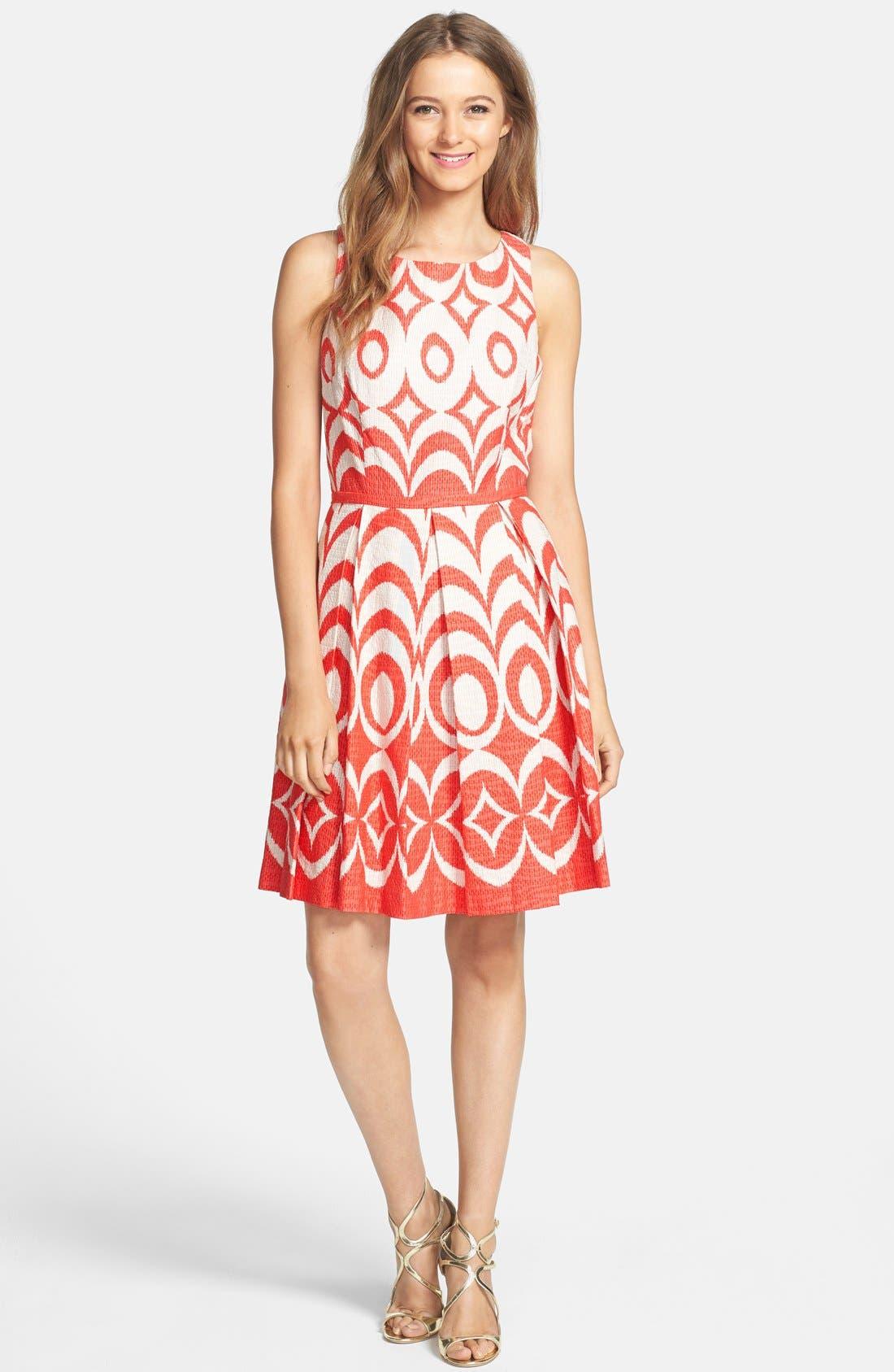 Print Cotton Fit & Flare Dress,                             Alternate thumbnail 3, color,                             Blaze/ Tan