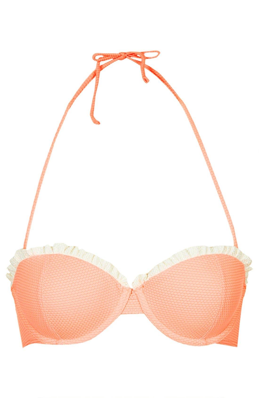 Main Image - Topshop Ruffle Trim Push-Up Bikini Top