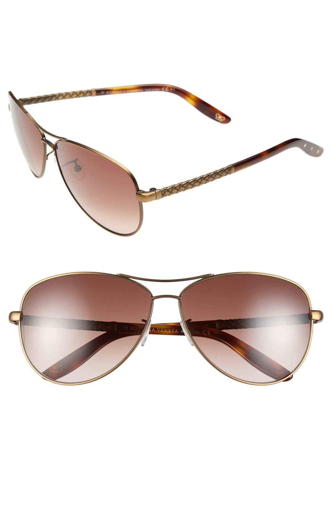 Alternate Image 1 Selected - Bottega Veneta 61mm Special Fit Aviator Sunglasses