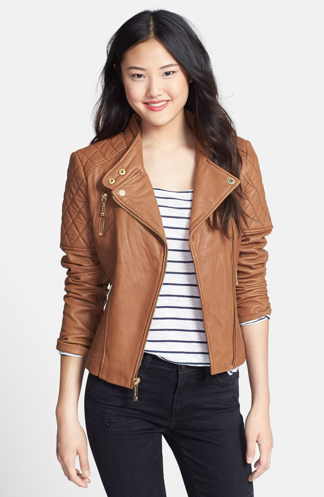 Main Image - MICHAEL Michael Kors Leather Moto Jacket (Online Only)