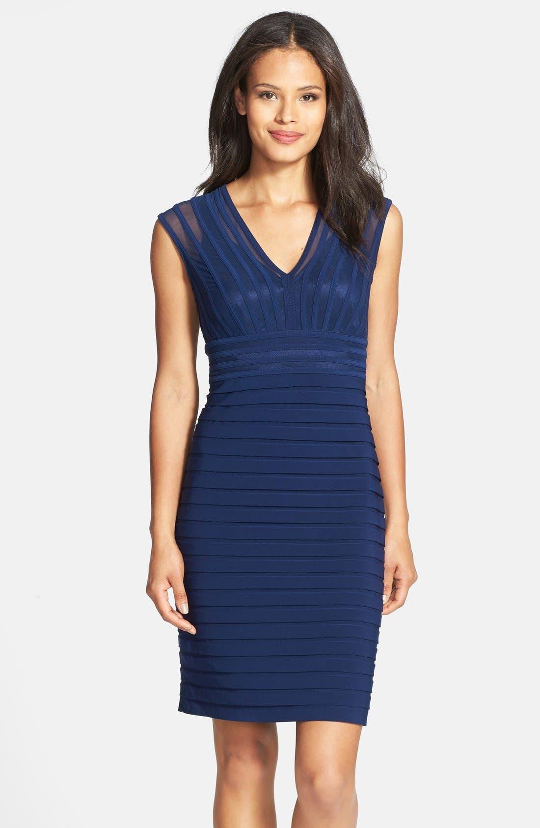 Alternate Image 1 Selected - Adrianna Papell Shutter Pleat Jersey Sheath Dress (Regular & Petite)