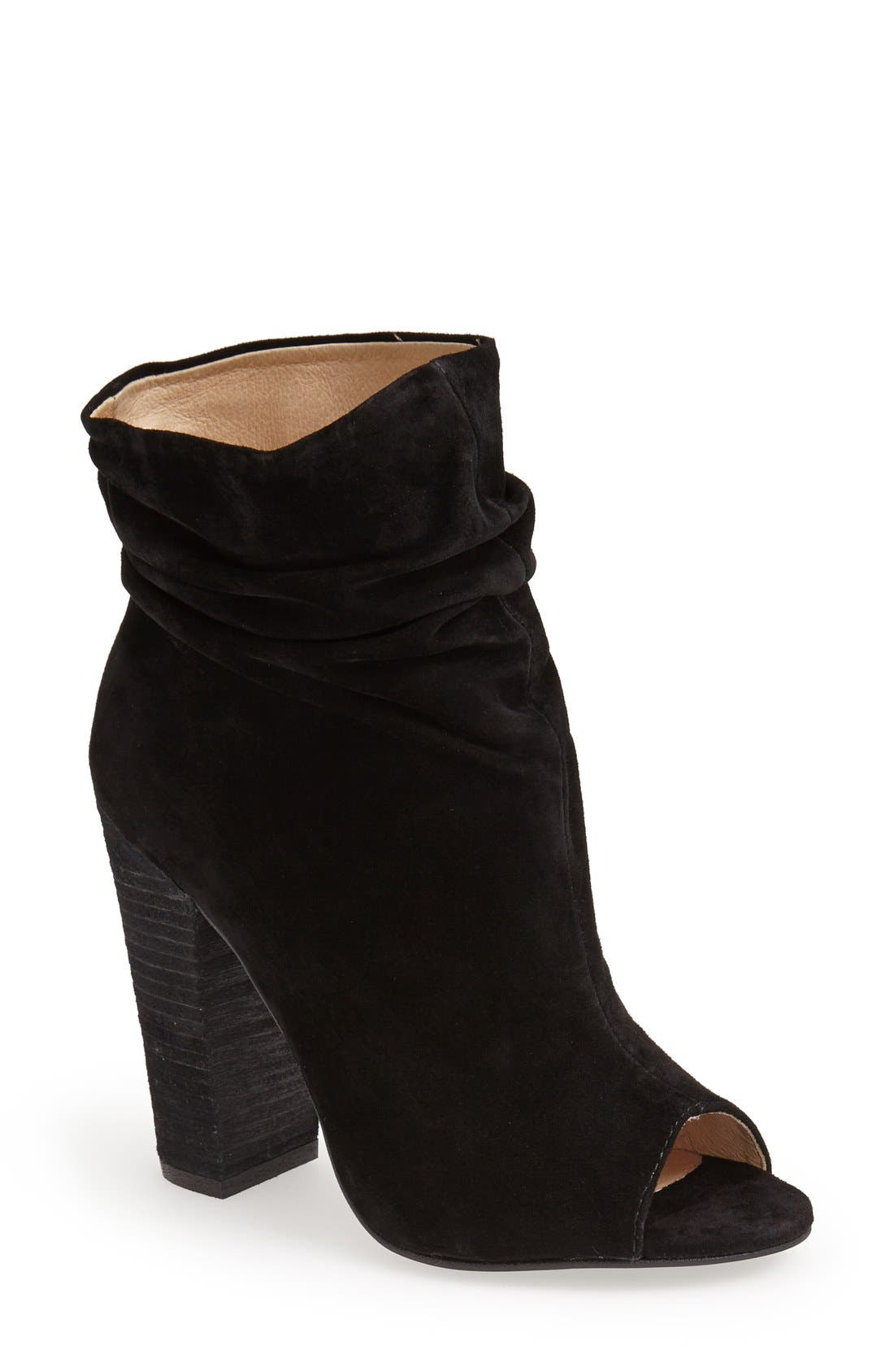 'Laurel' Peep Toe Bootie,                         Main,                         color, Black