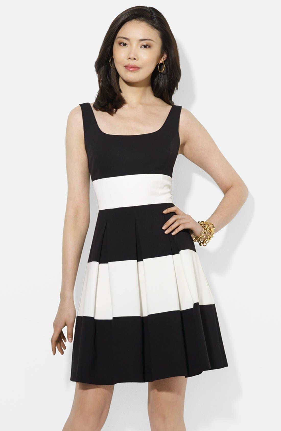 Main Image - Lauren Ralph Lauren Stripe Stretch Gabardine Fit & Flare Dress