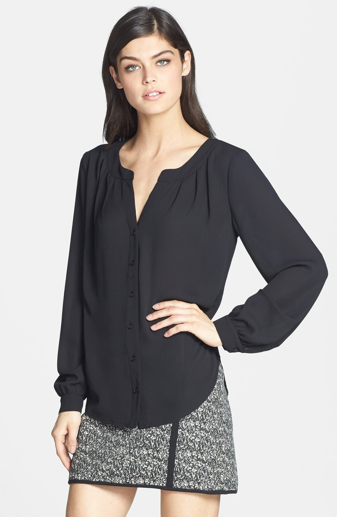Main Image - Ro & De Pleated Long Sleeve Blouse (Nordstrom Exclusive)