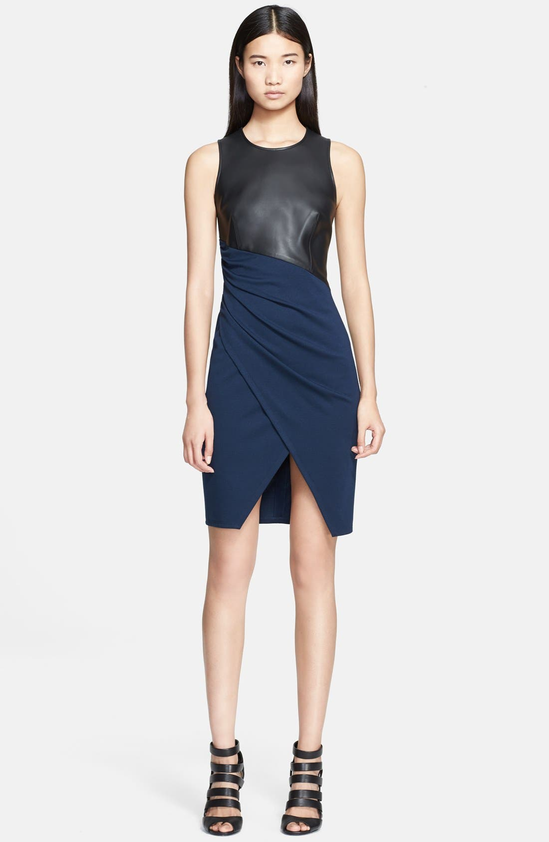 Main Image - Jay Godfrey 'Vaughn' Faux Leather &  Ponte Knit Dress