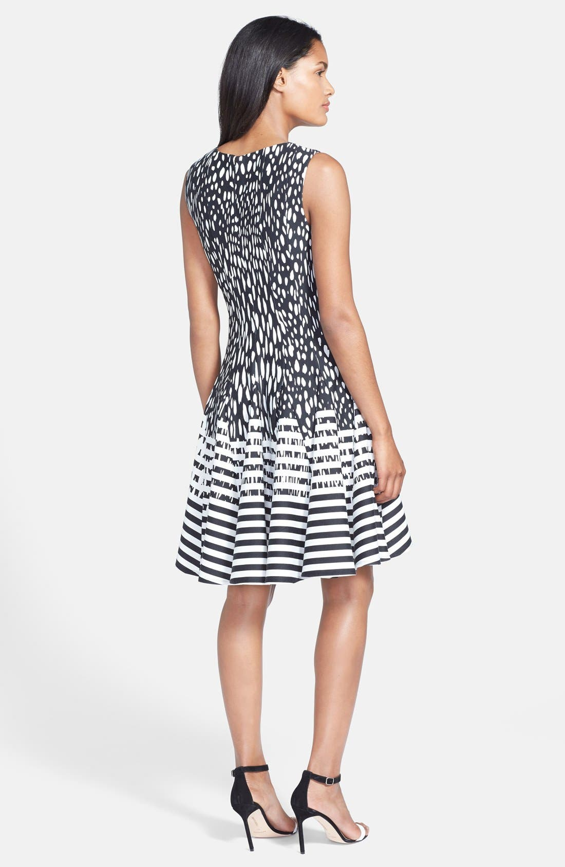 Alternate Image 2  - Eliza J Mixed Print Ponte Fit & Flare Dress (Regular & Petite)