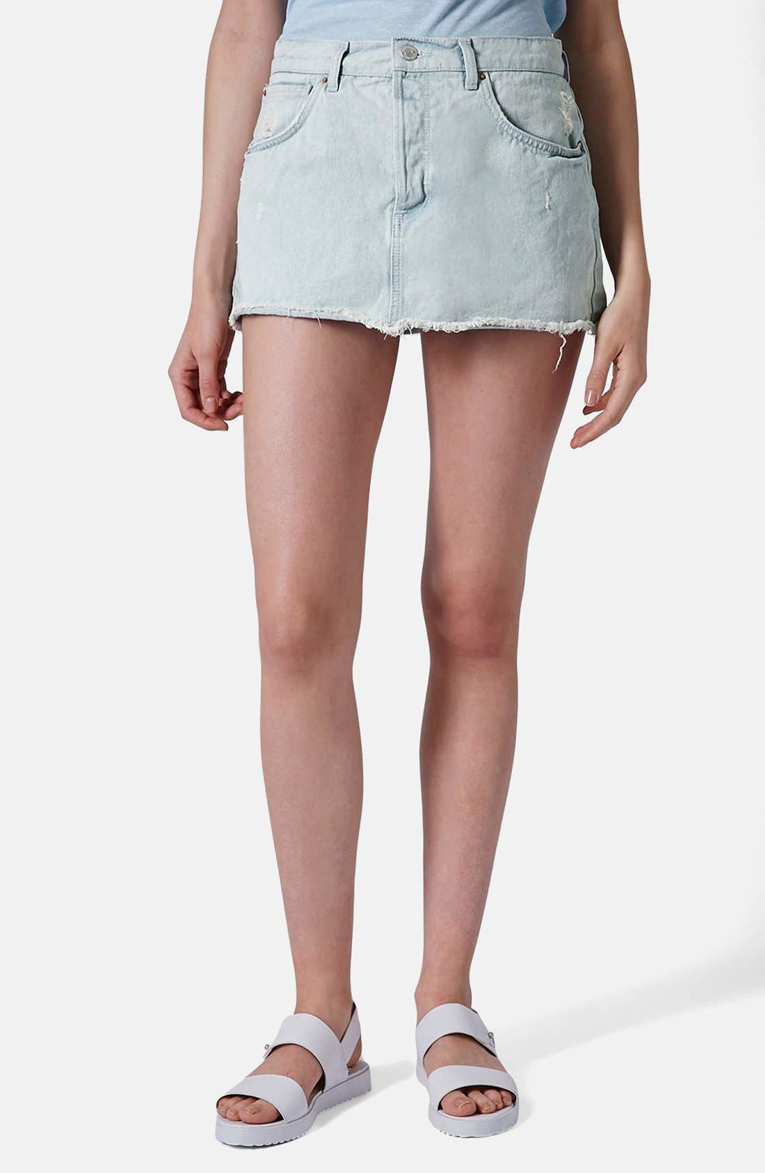 Main Image - Topshop Moto Bleach Wash Cutoff Skirt (Light Denim)